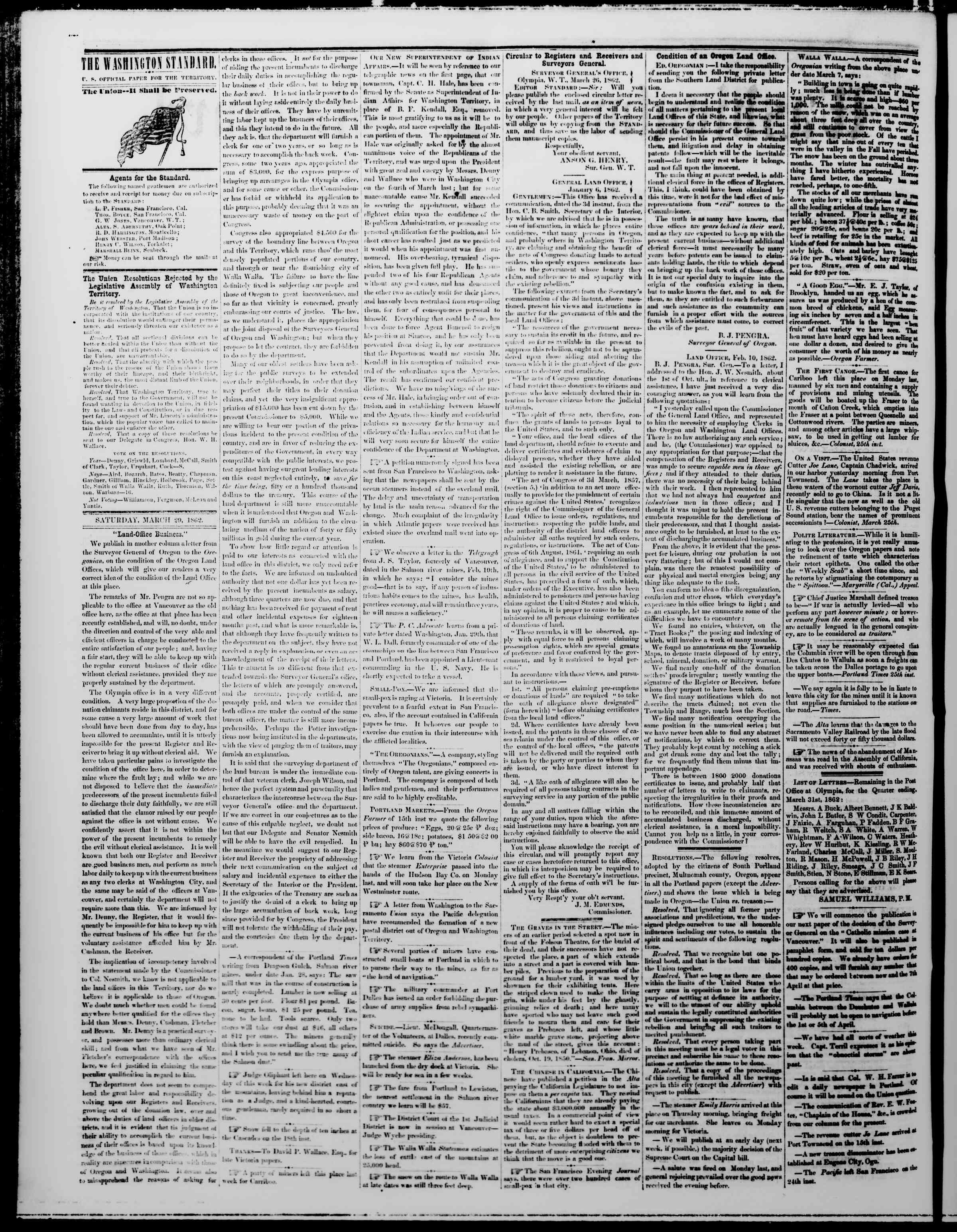 Newspaper of The Washington Standard dated March 29, 1862 Page 2