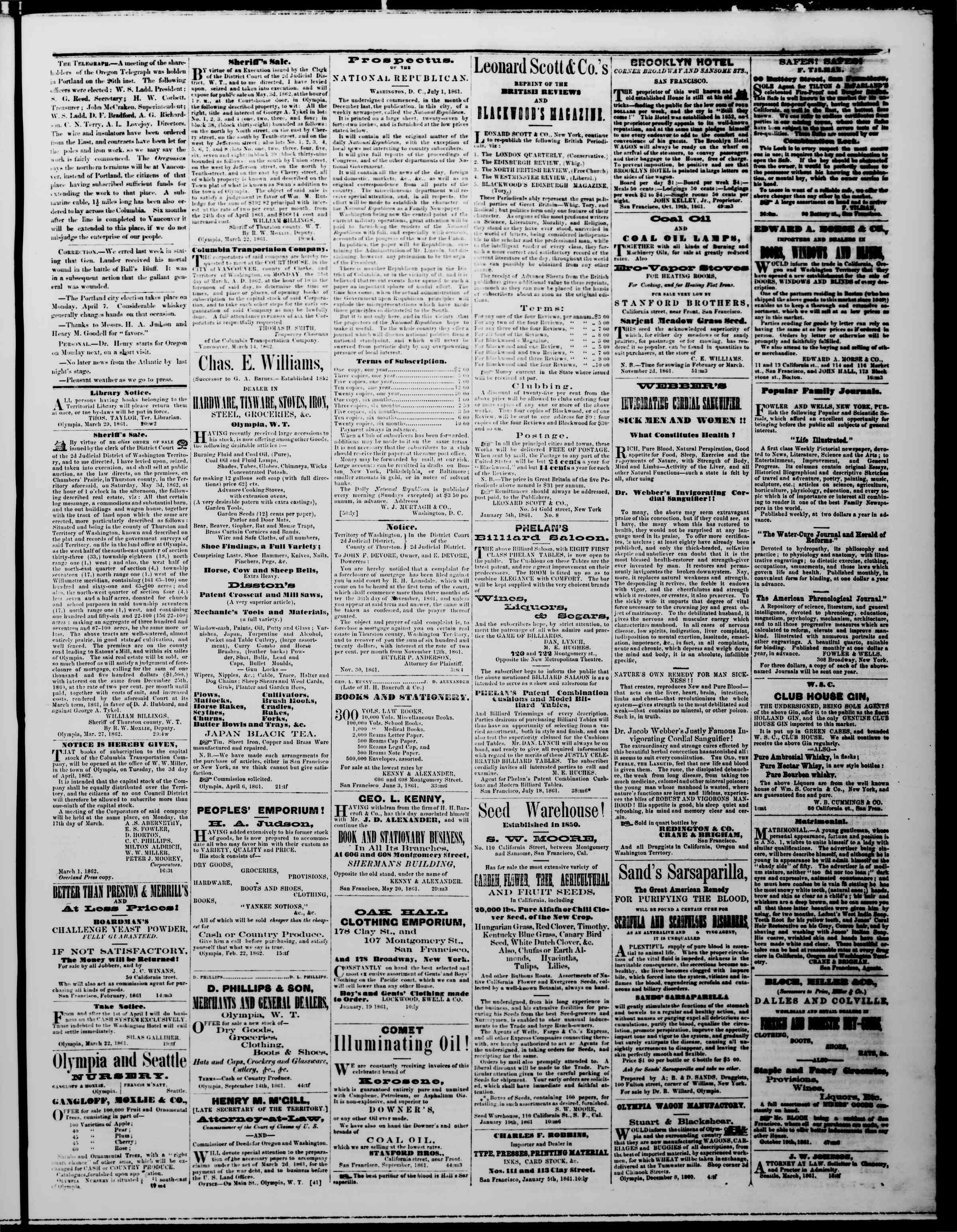 Newspaper of The Washington Standard dated March 29, 1862 Page 3