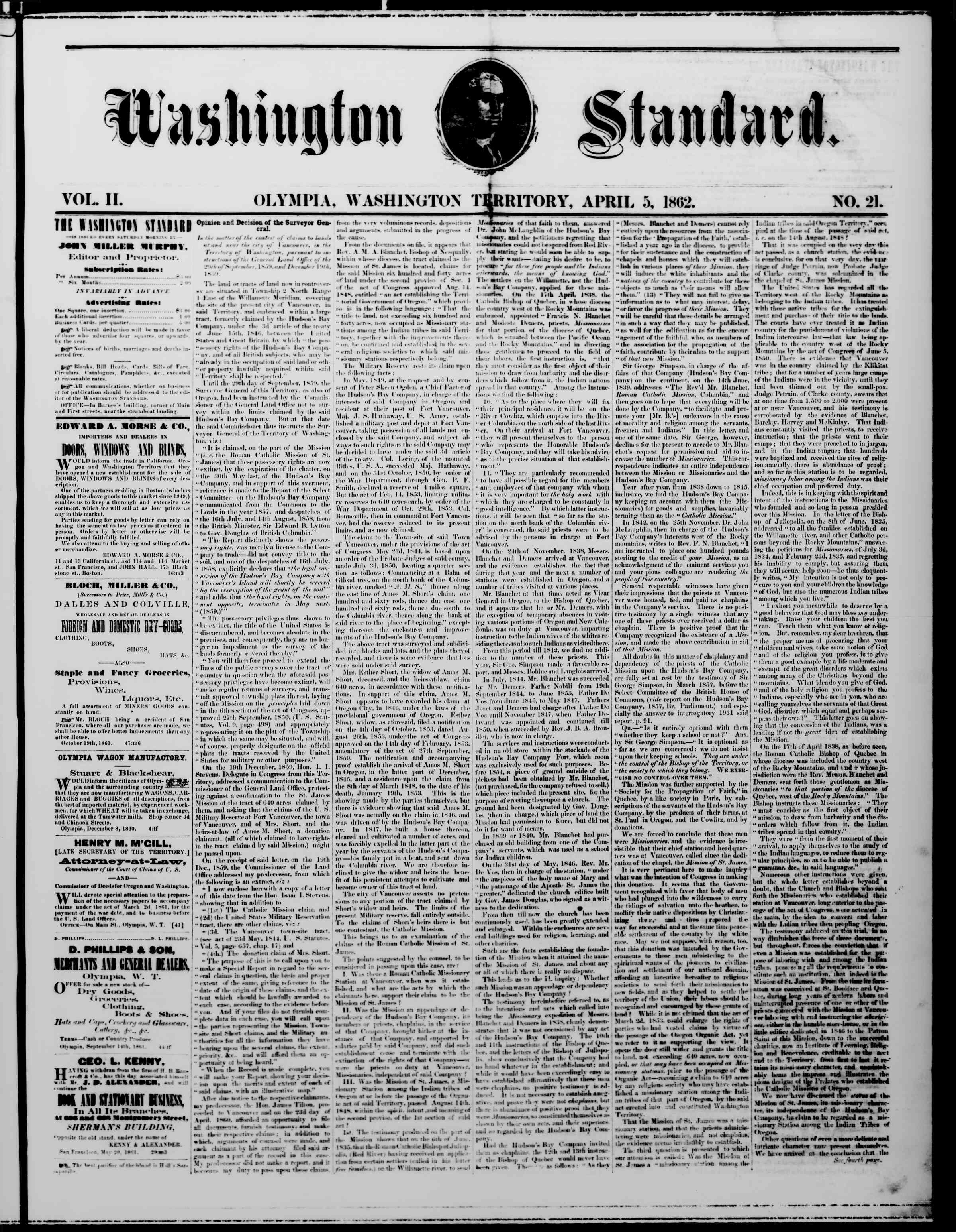 Newspaper of The Washington Standard dated April 5, 1862 Page 1