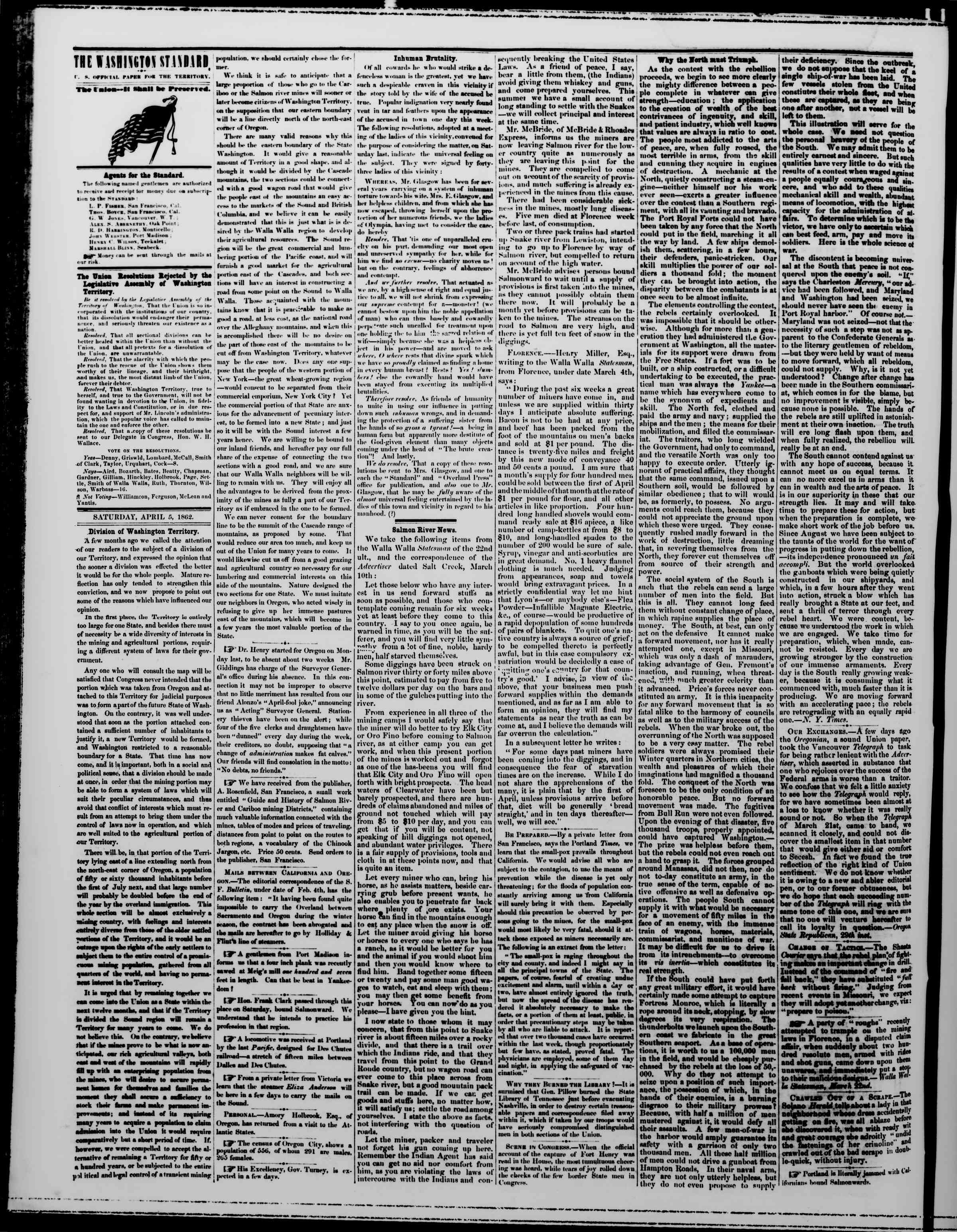 Newspaper of The Washington Standard dated April 5, 1862 Page 2