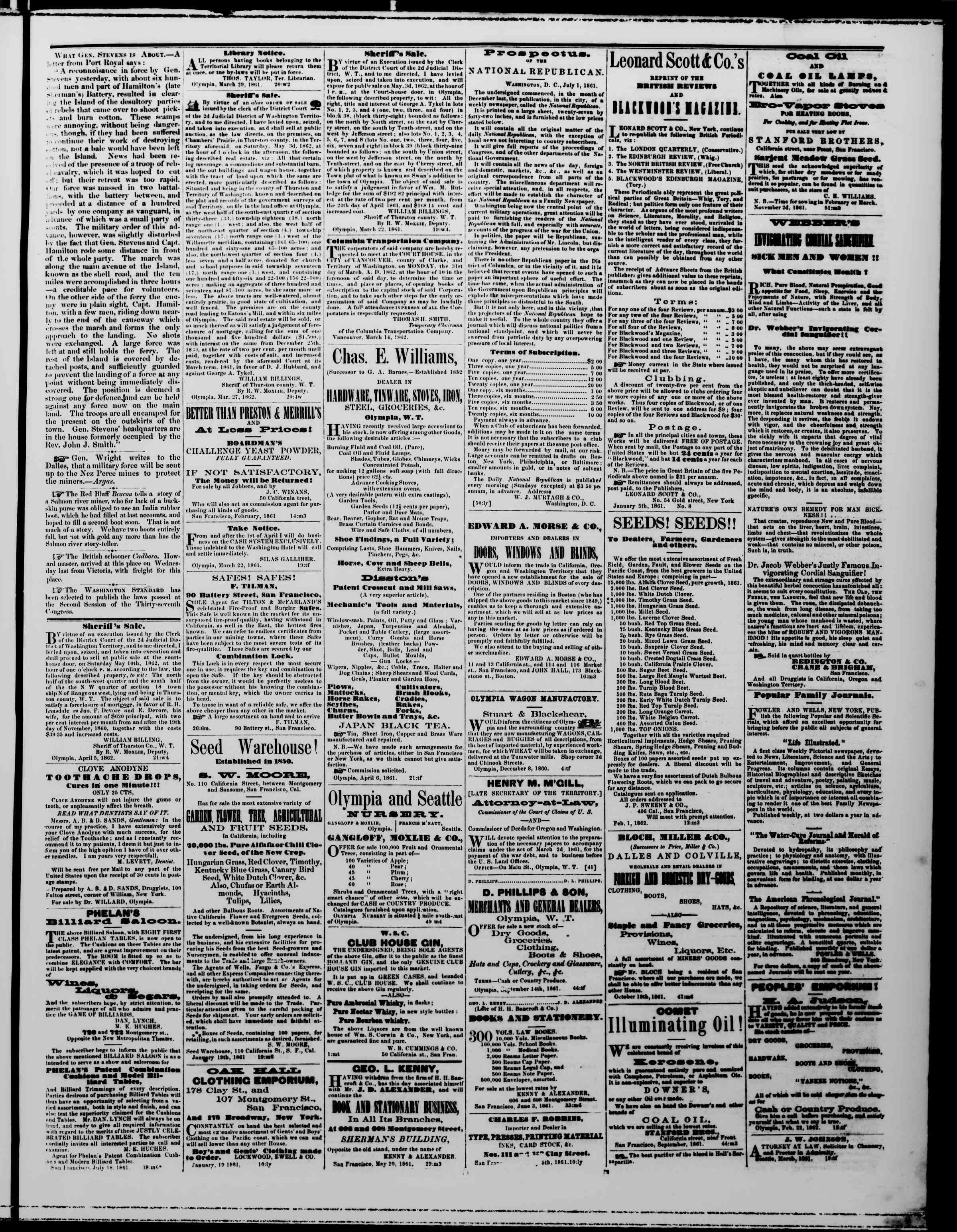 Newspaper of The Washington Standard dated April 5, 1862 Page 3