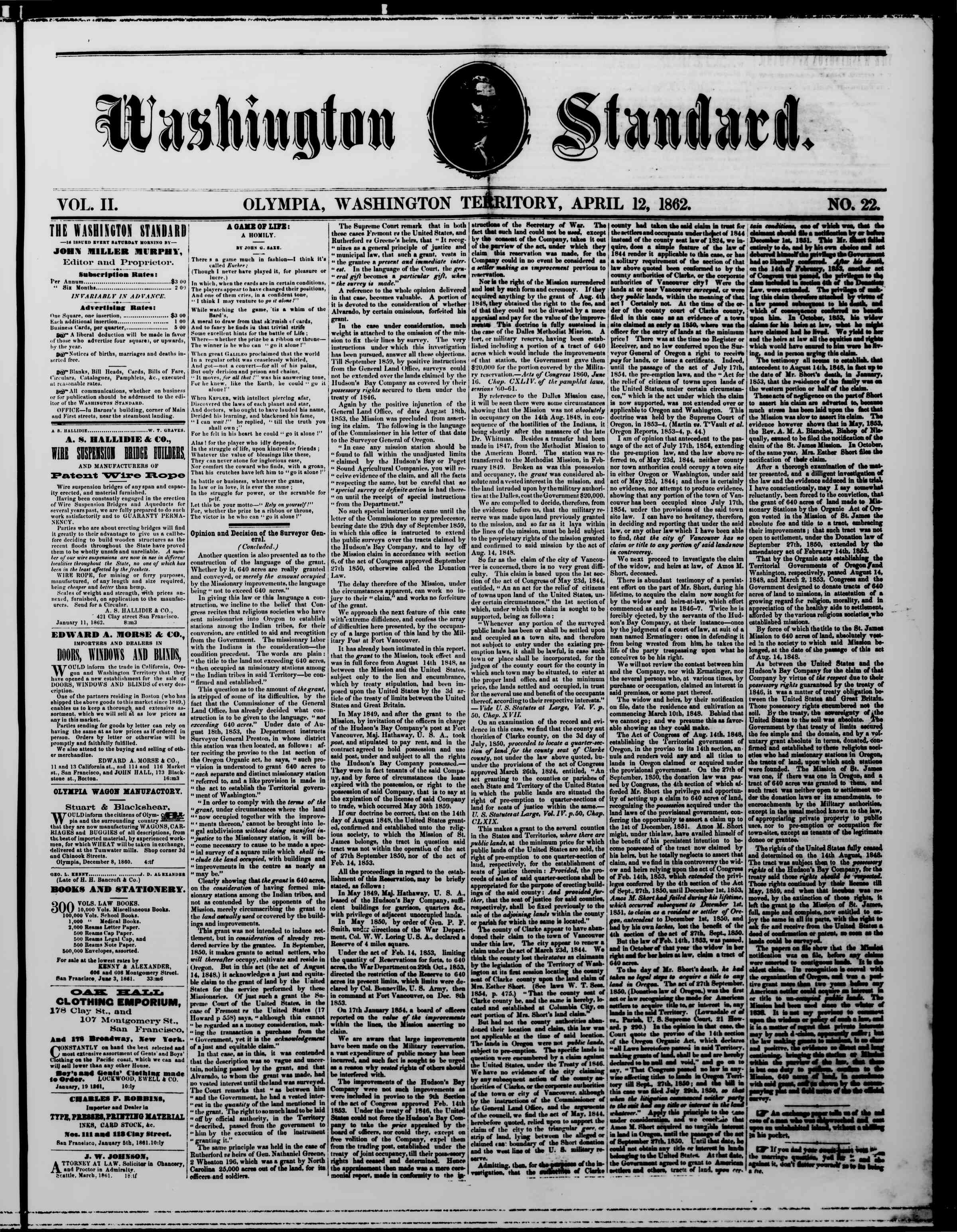 Newspaper of The Washington Standard dated April 12, 1862 Page 1