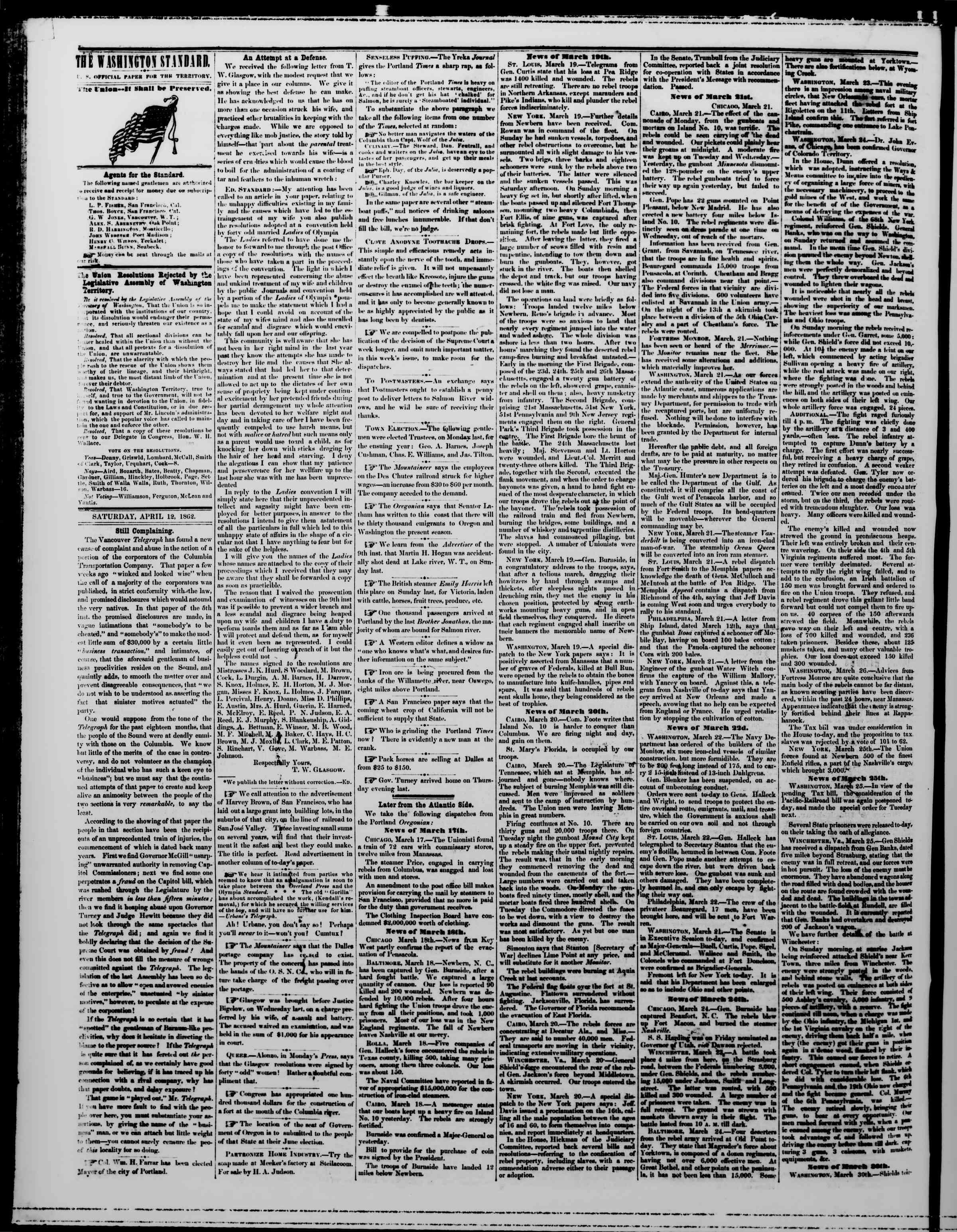 12 Nisan 1862 tarihli The Washington Standard Gazetesi Sayfa 2