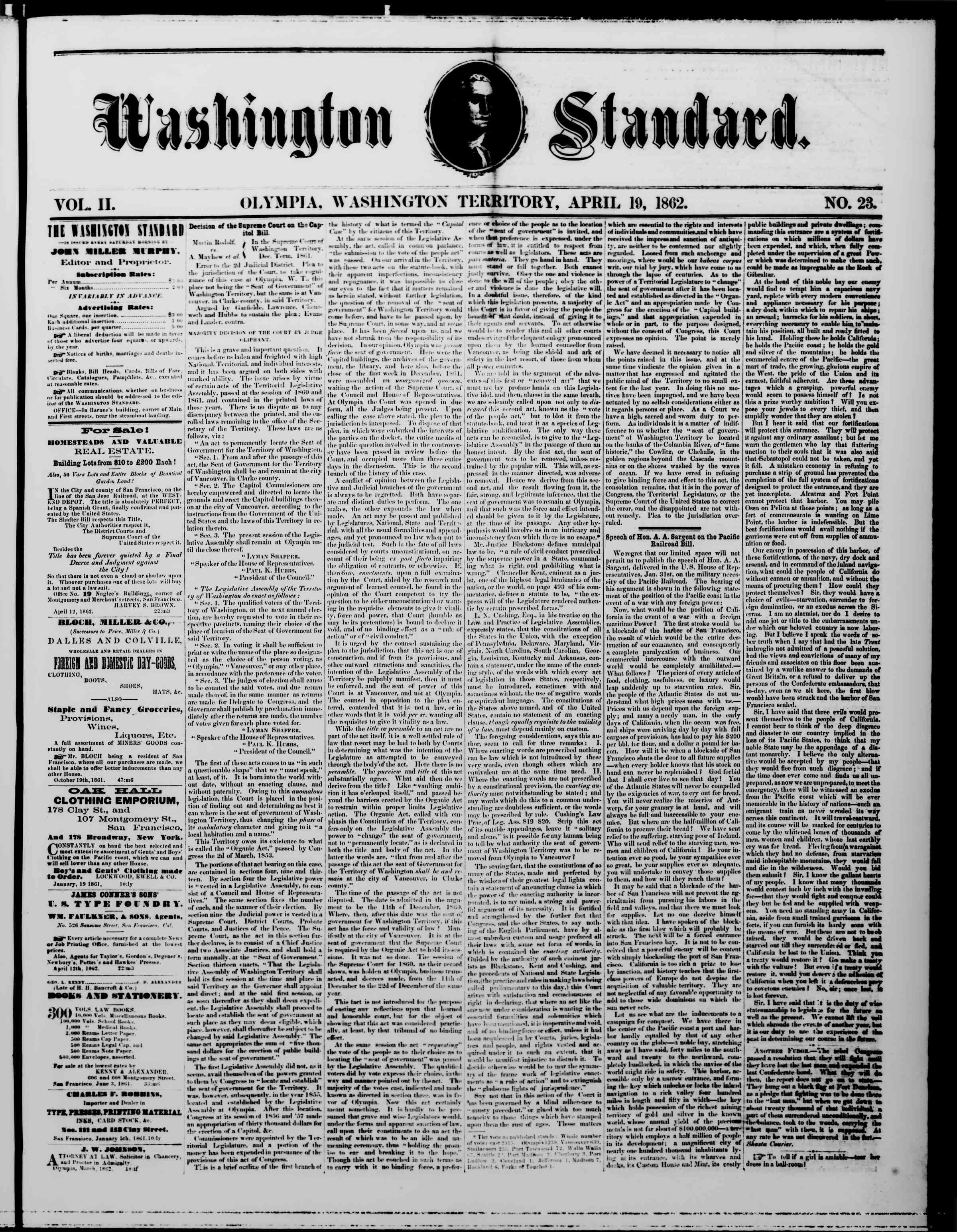 19 Nisan 1862 tarihli The Washington Standard Gazetesi Sayfa 1