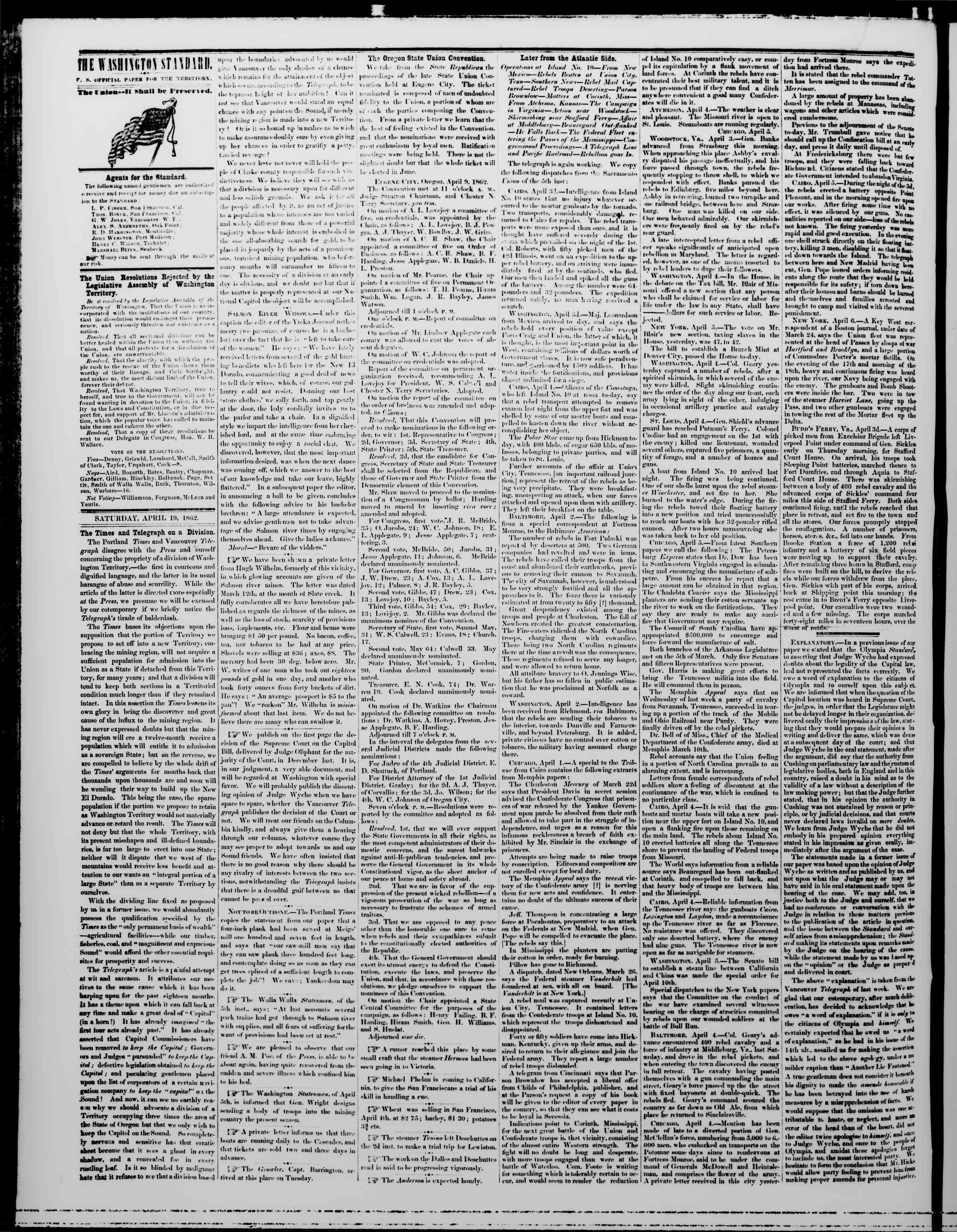 Newspaper of The Washington Standard dated April 19, 1862 Page 2
