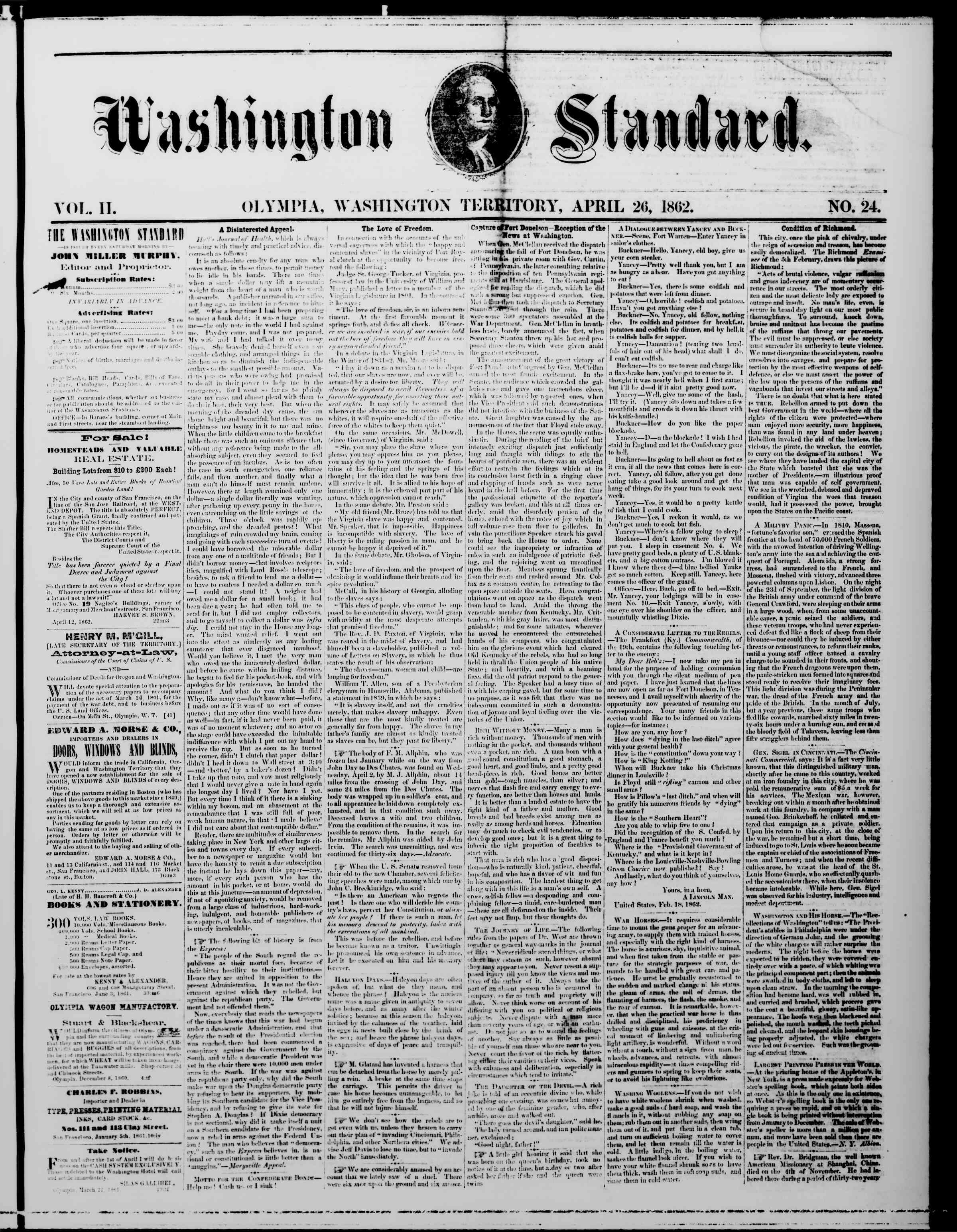 Newspaper of The Washington Standard dated April 26, 1862 Page 1