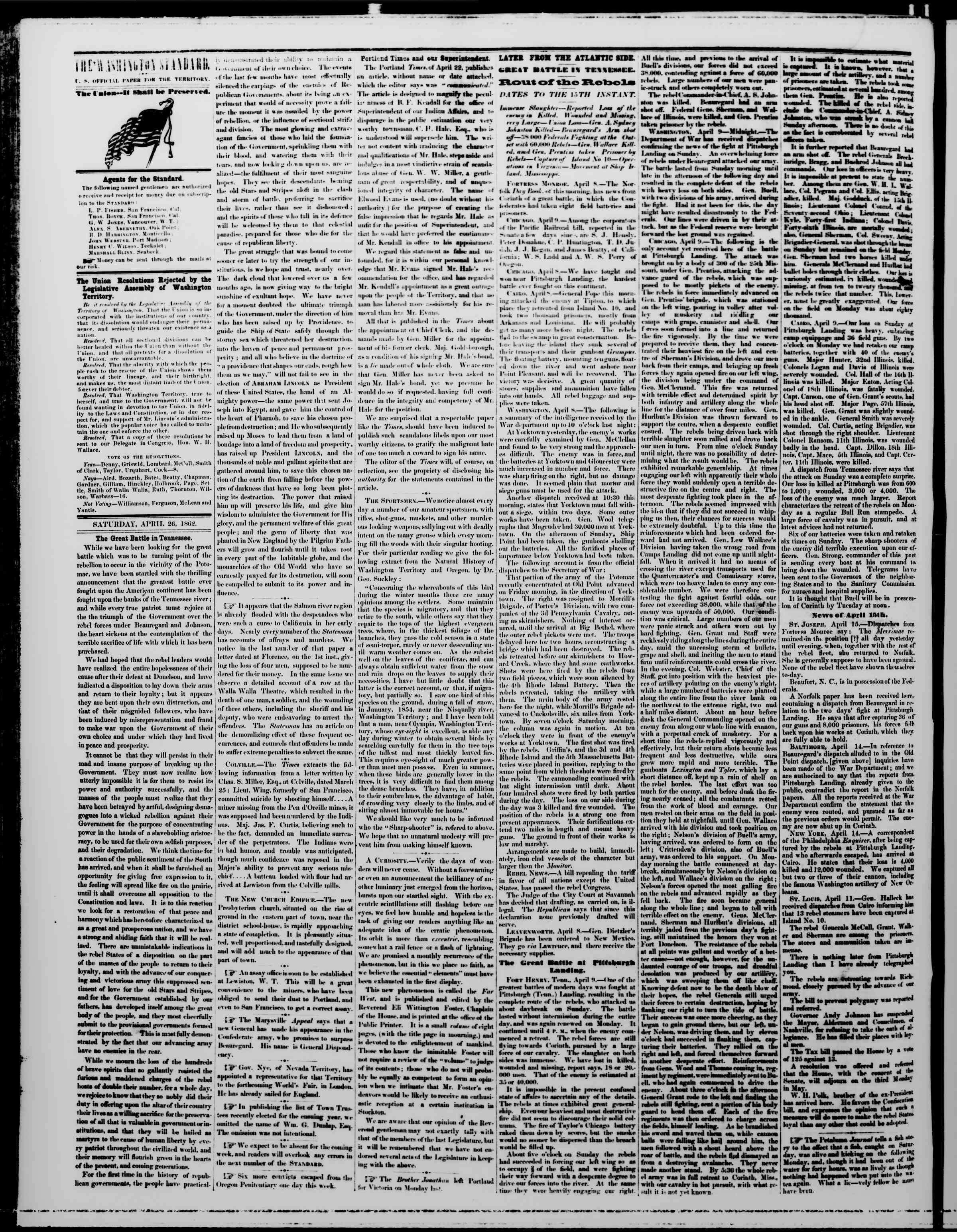 Newspaper of The Washington Standard dated April 26, 1862 Page 2