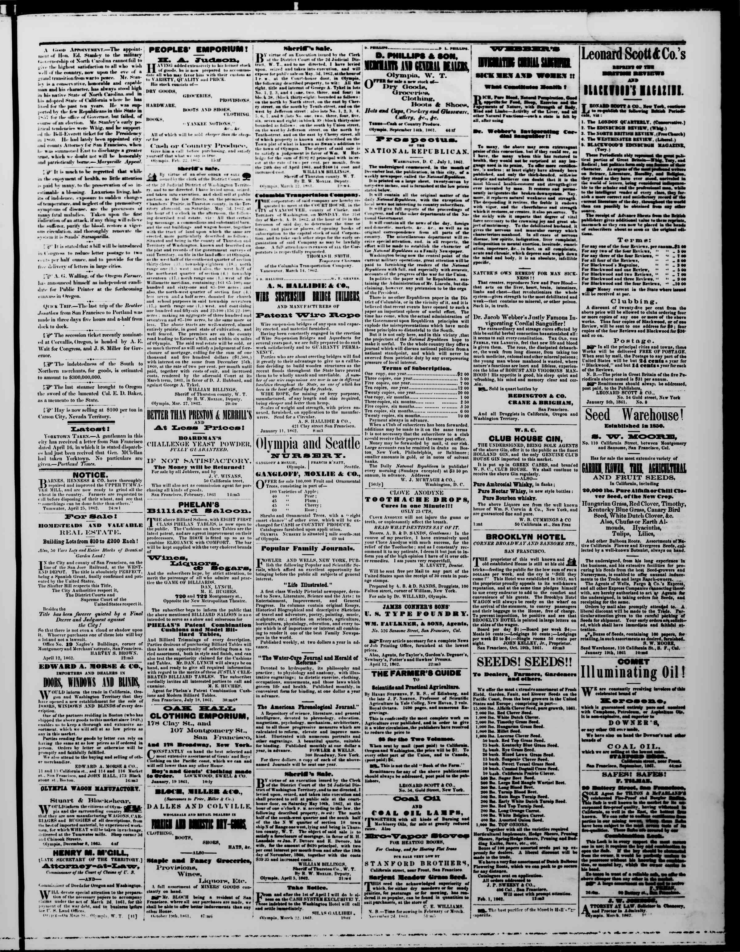 Newspaper of The Washington Standard dated April 26, 1862 Page 3