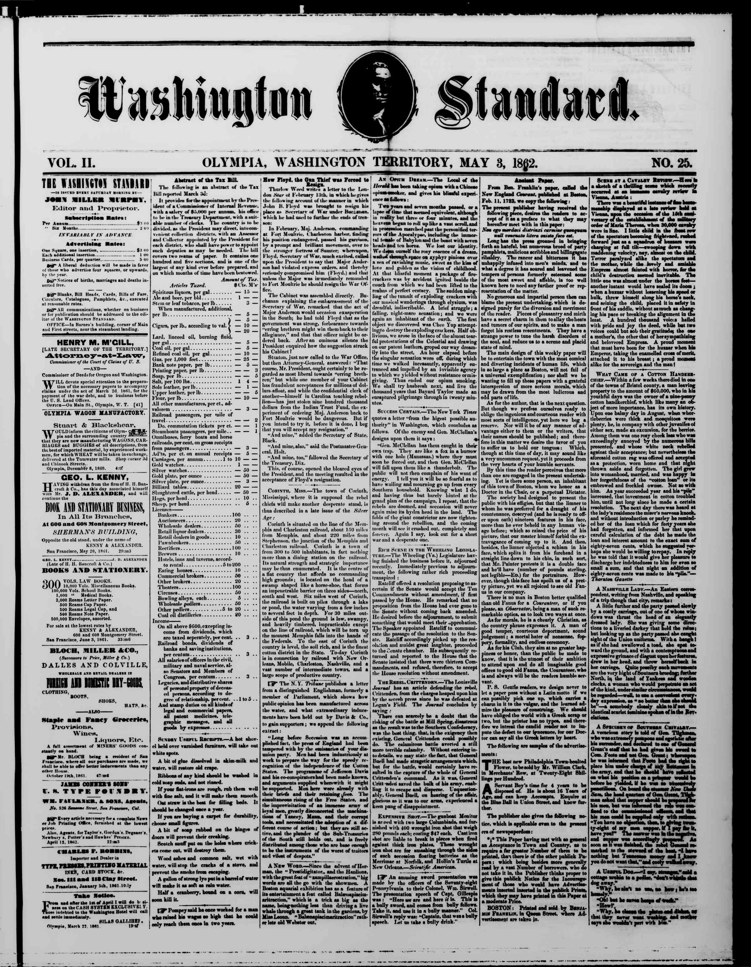 Newspaper of The Washington Standard dated May 3, 1862 Page 1
