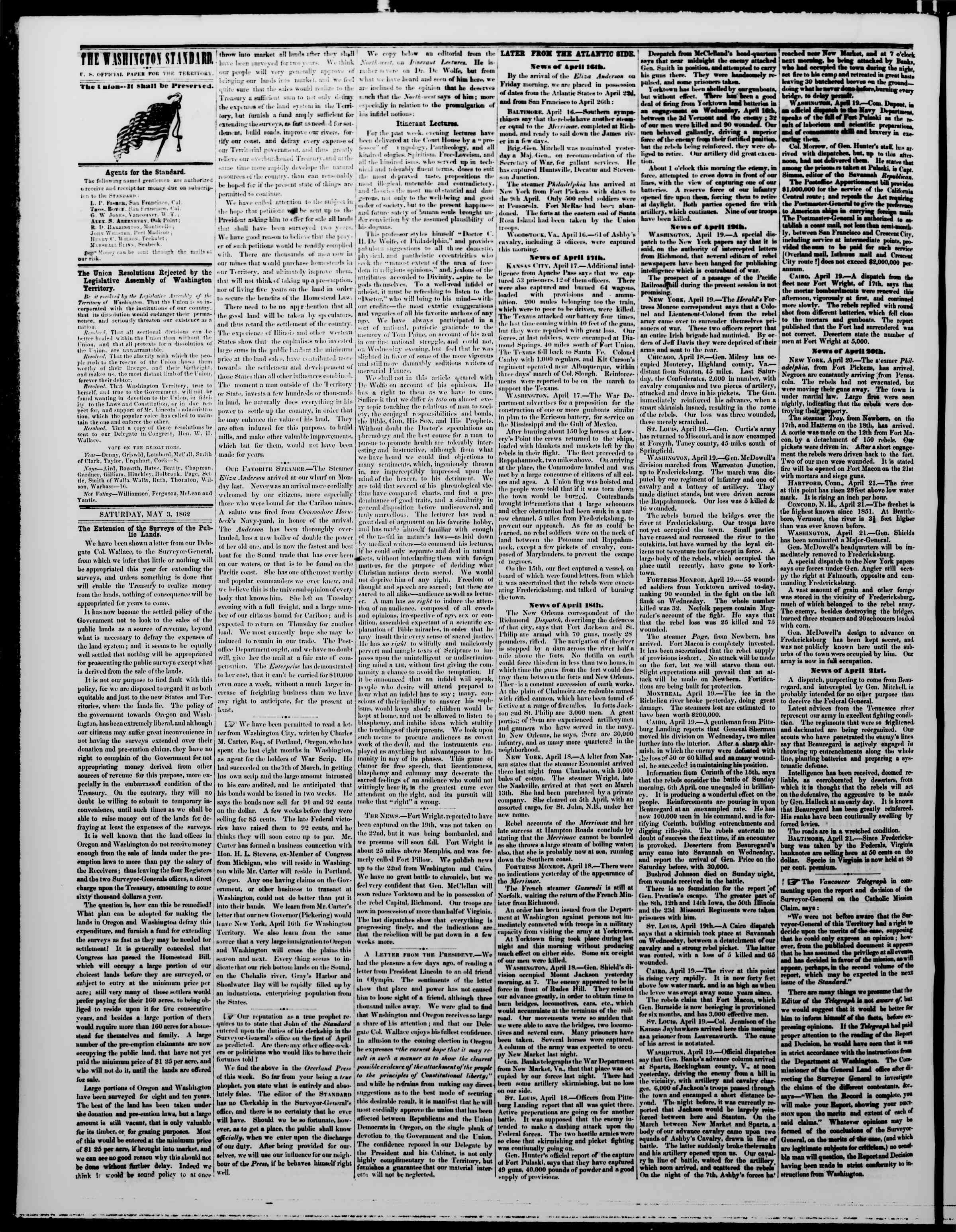 Newspaper of The Washington Standard dated May 3, 1862 Page 2