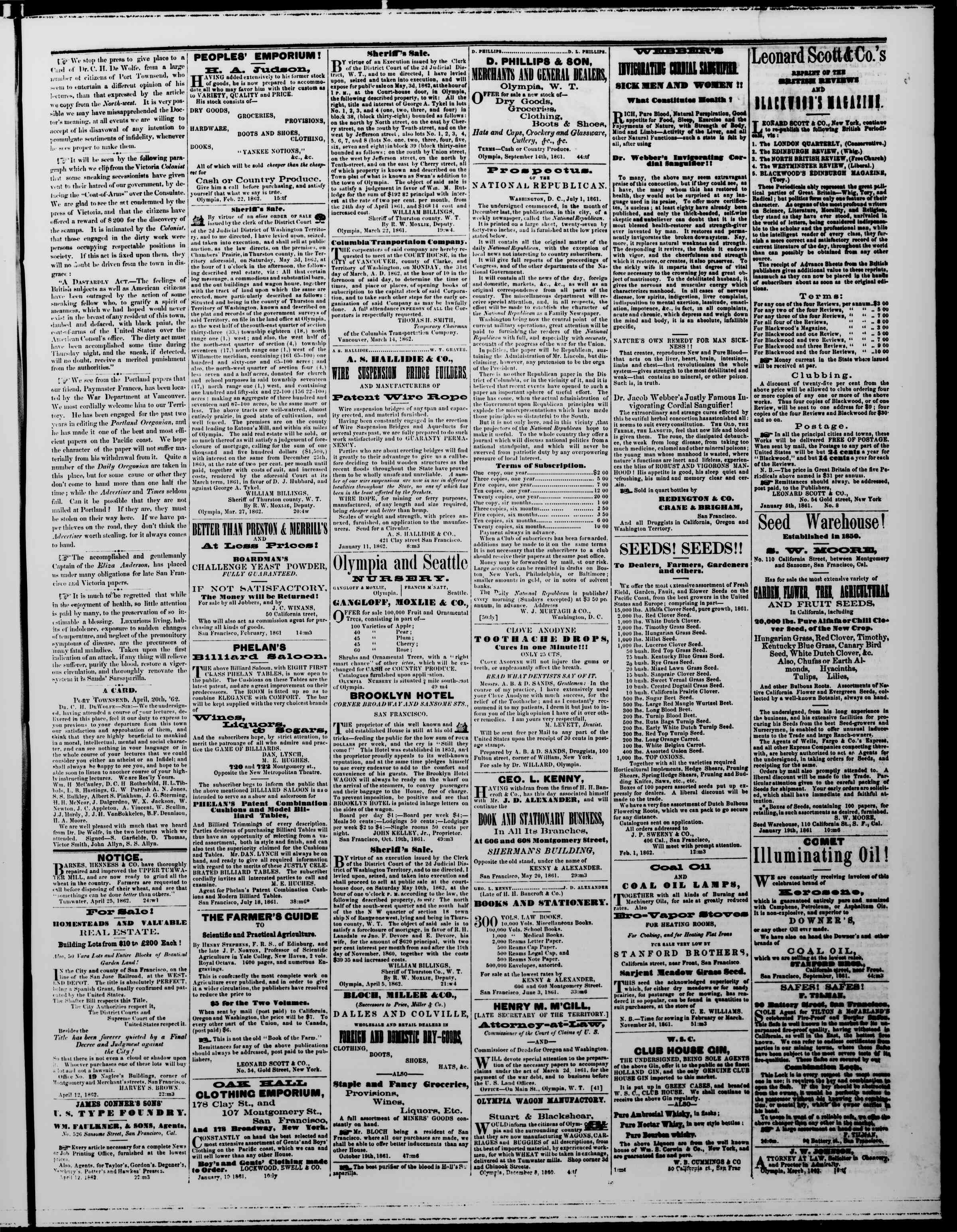 Newspaper of The Washington Standard dated May 3, 1862 Page 3