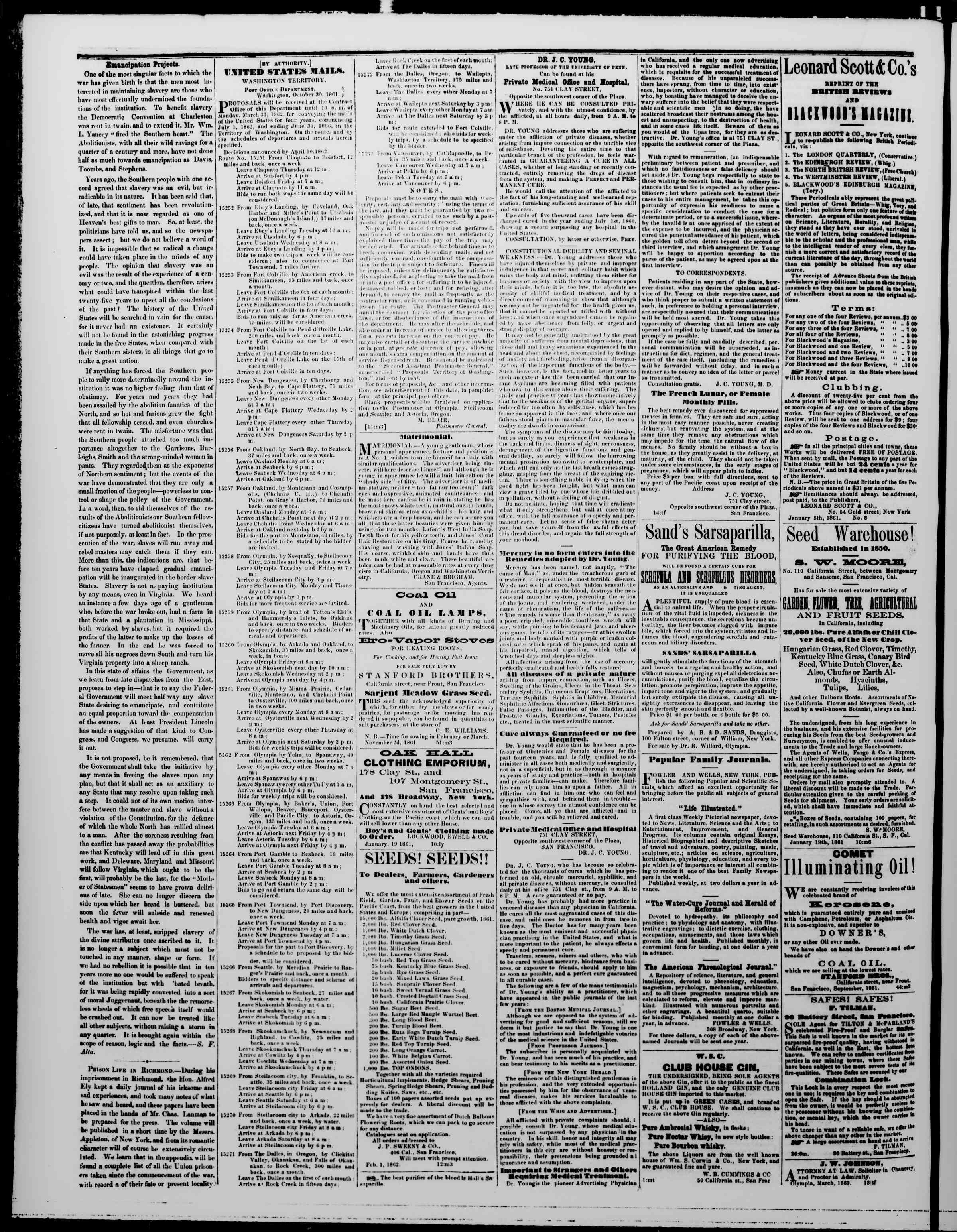 Newspaper of The Washington Standard dated May 3, 1862 Page 4