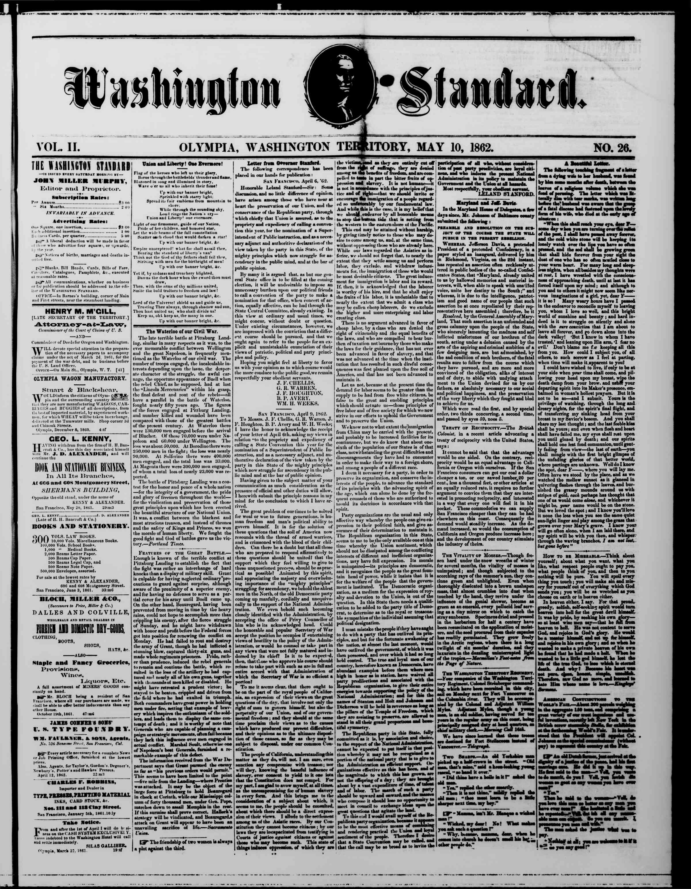 Newspaper of The Washington Standard dated May 10, 1862 Page 1