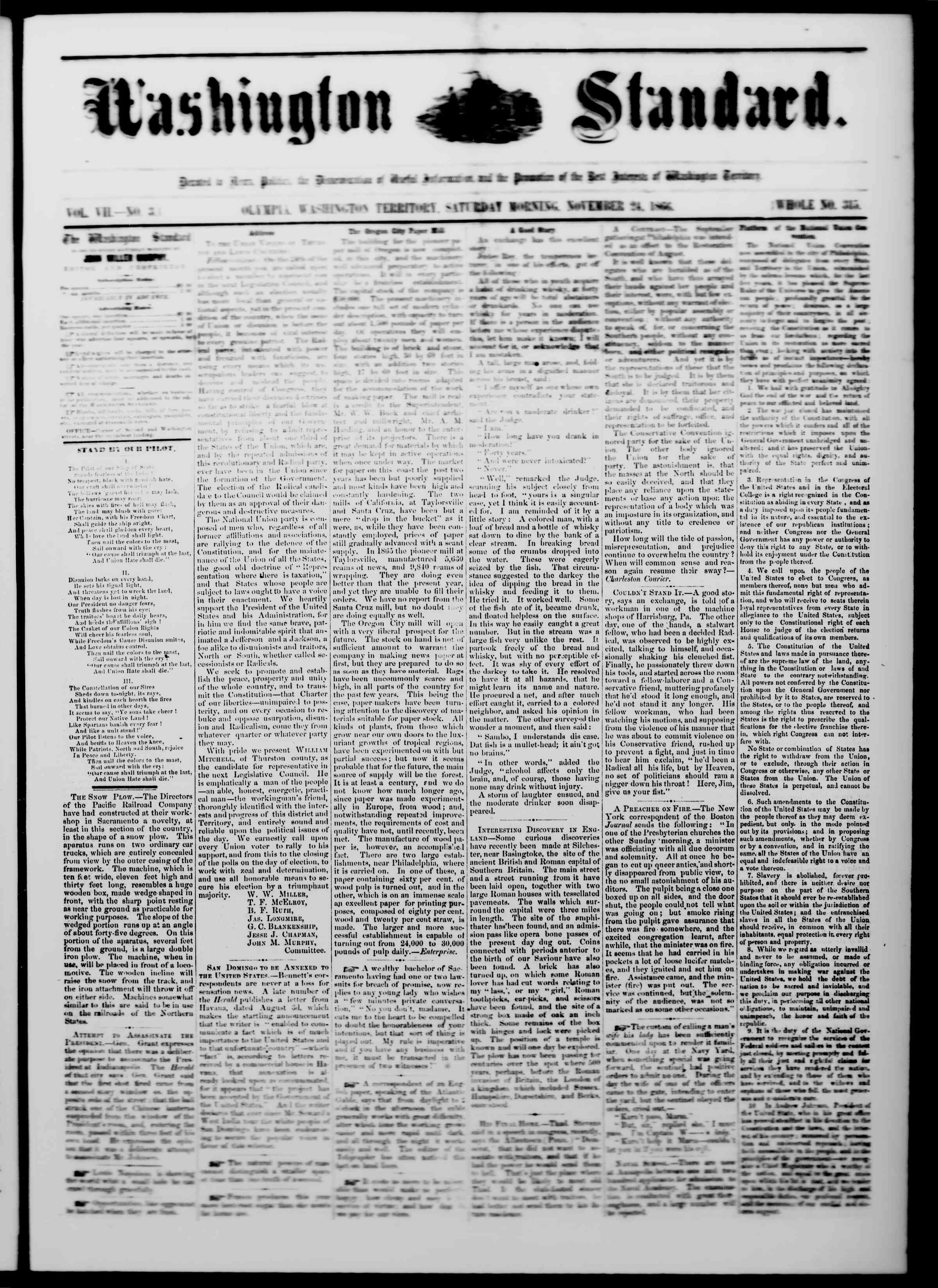 Newspaper of The Washington Standard dated November 24, 1866 Page 1