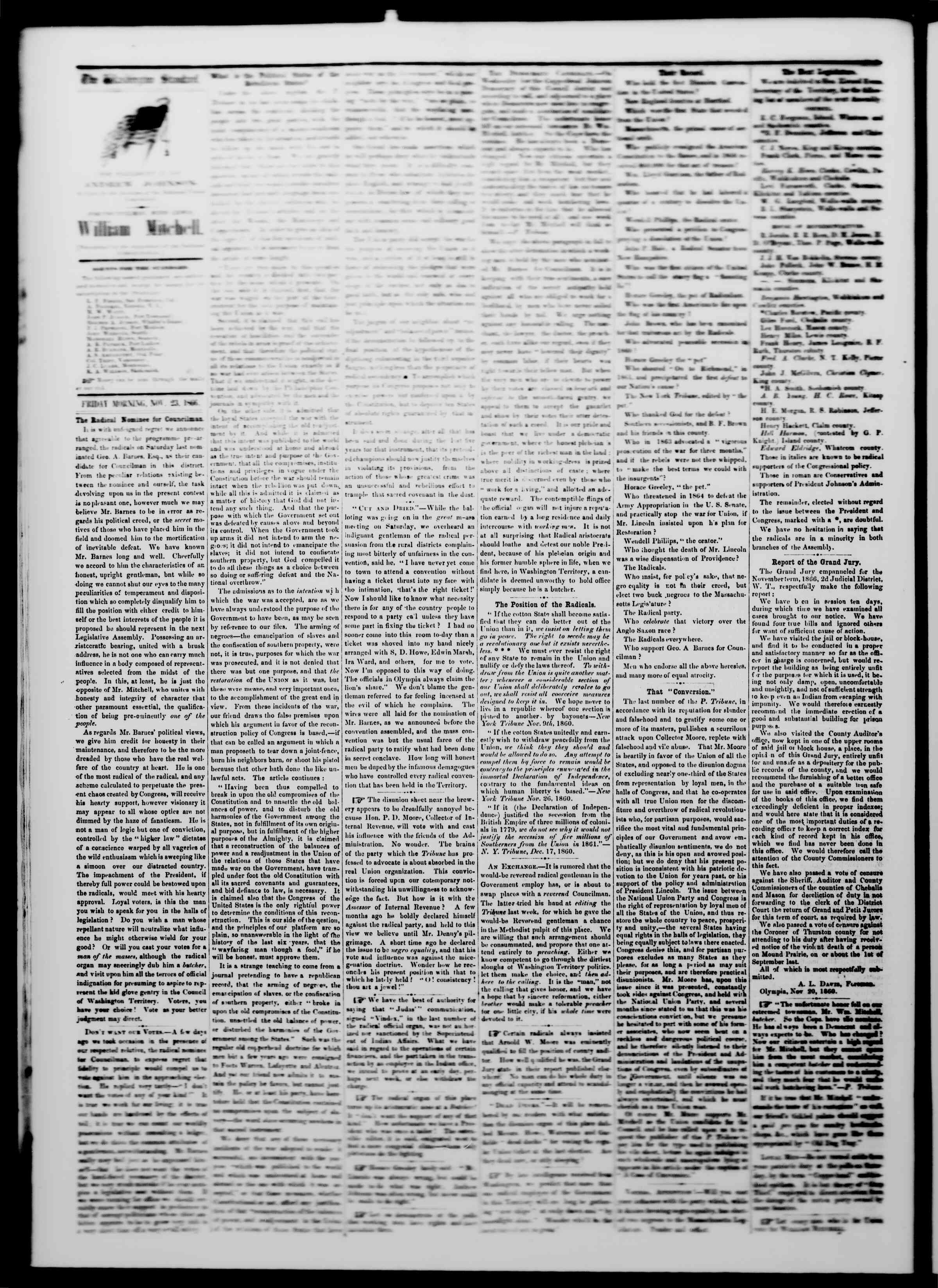 Newspaper of The Washington Standard dated November 24, 1866 Page 2