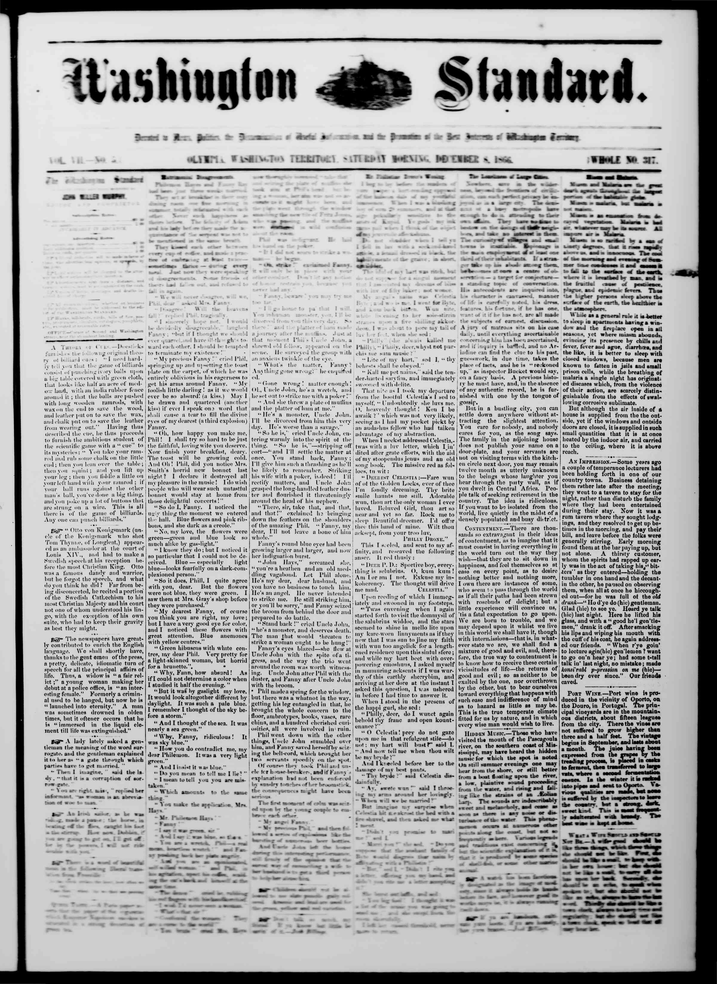 Newspaper of The Washington Standard dated December 8, 1866 Page 1