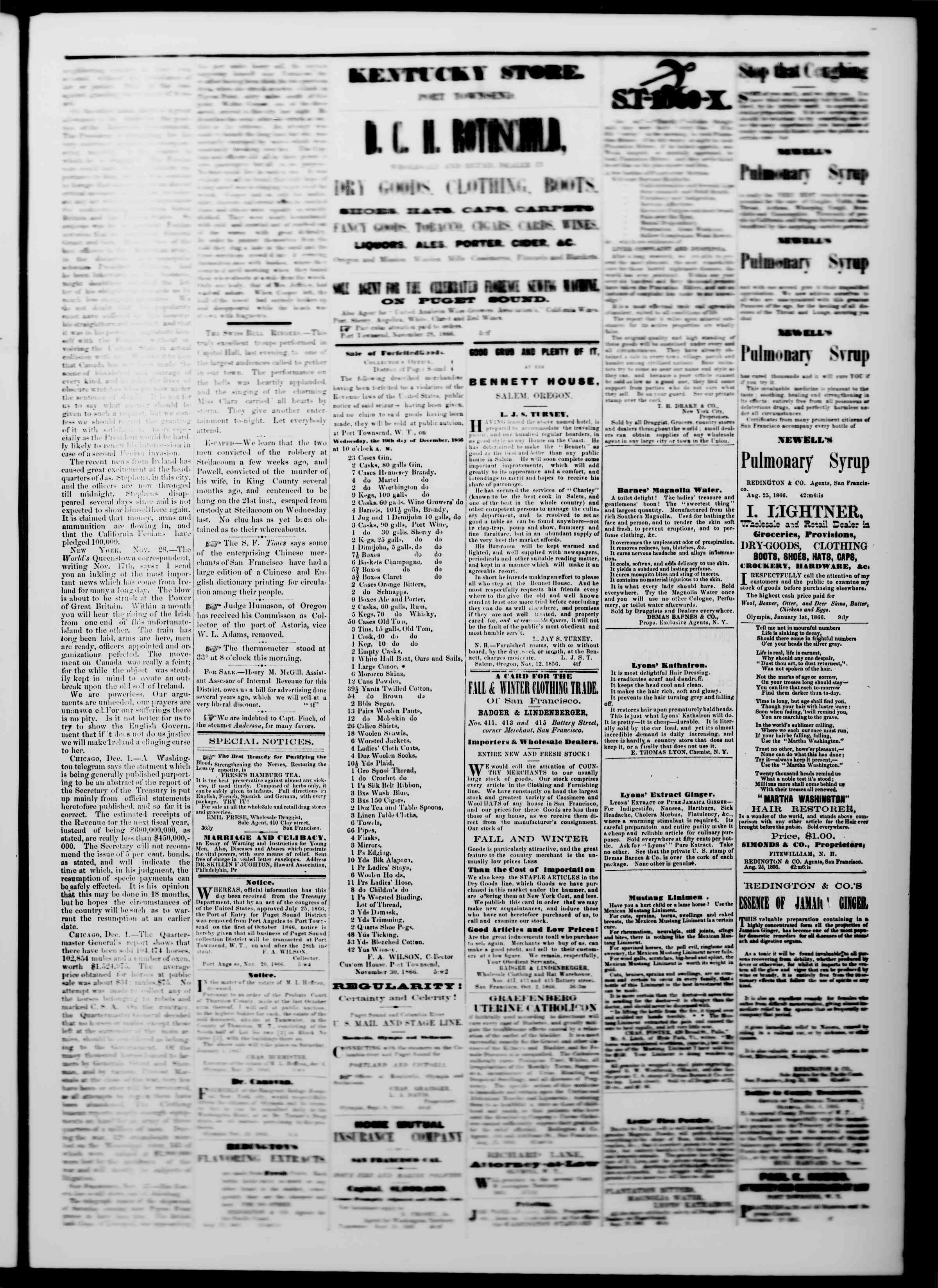 Newspaper of The Washington Standard dated December 8, 1866 Page 3
