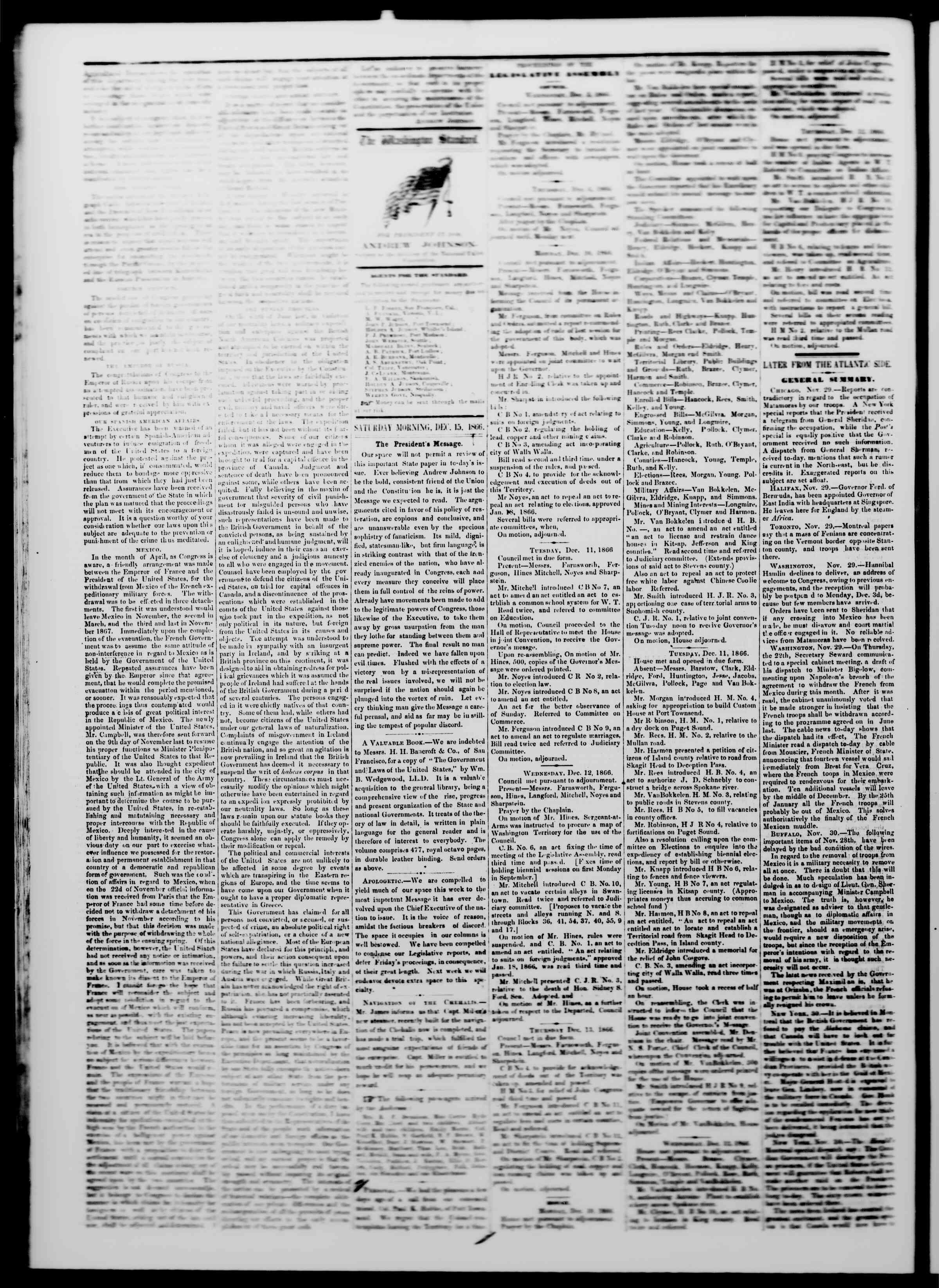 Newspaper of The Washington Standard dated 15 Aralık 1866 Page 2