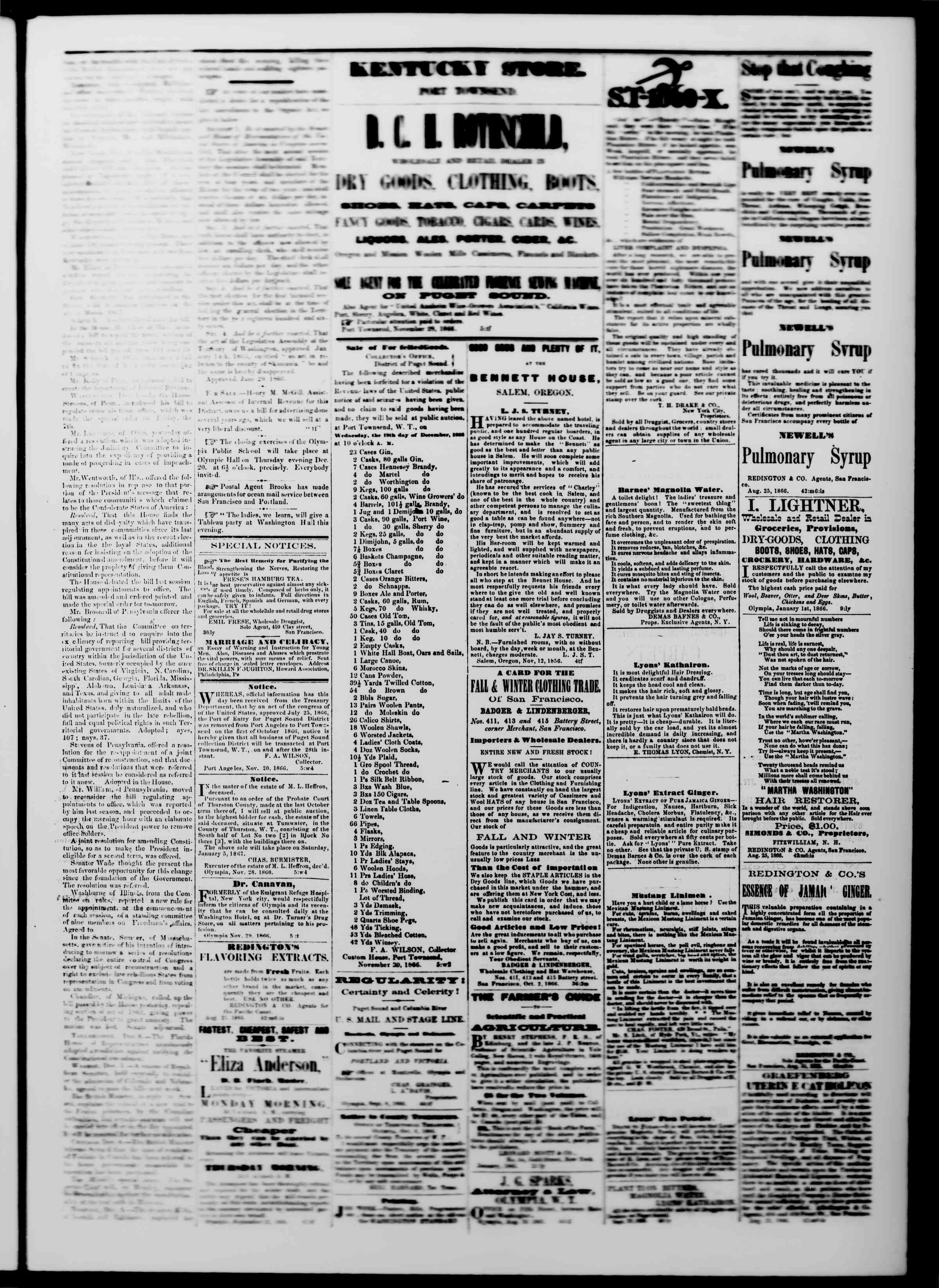 Newspaper of The Washington Standard dated December 15, 1866 Page 3