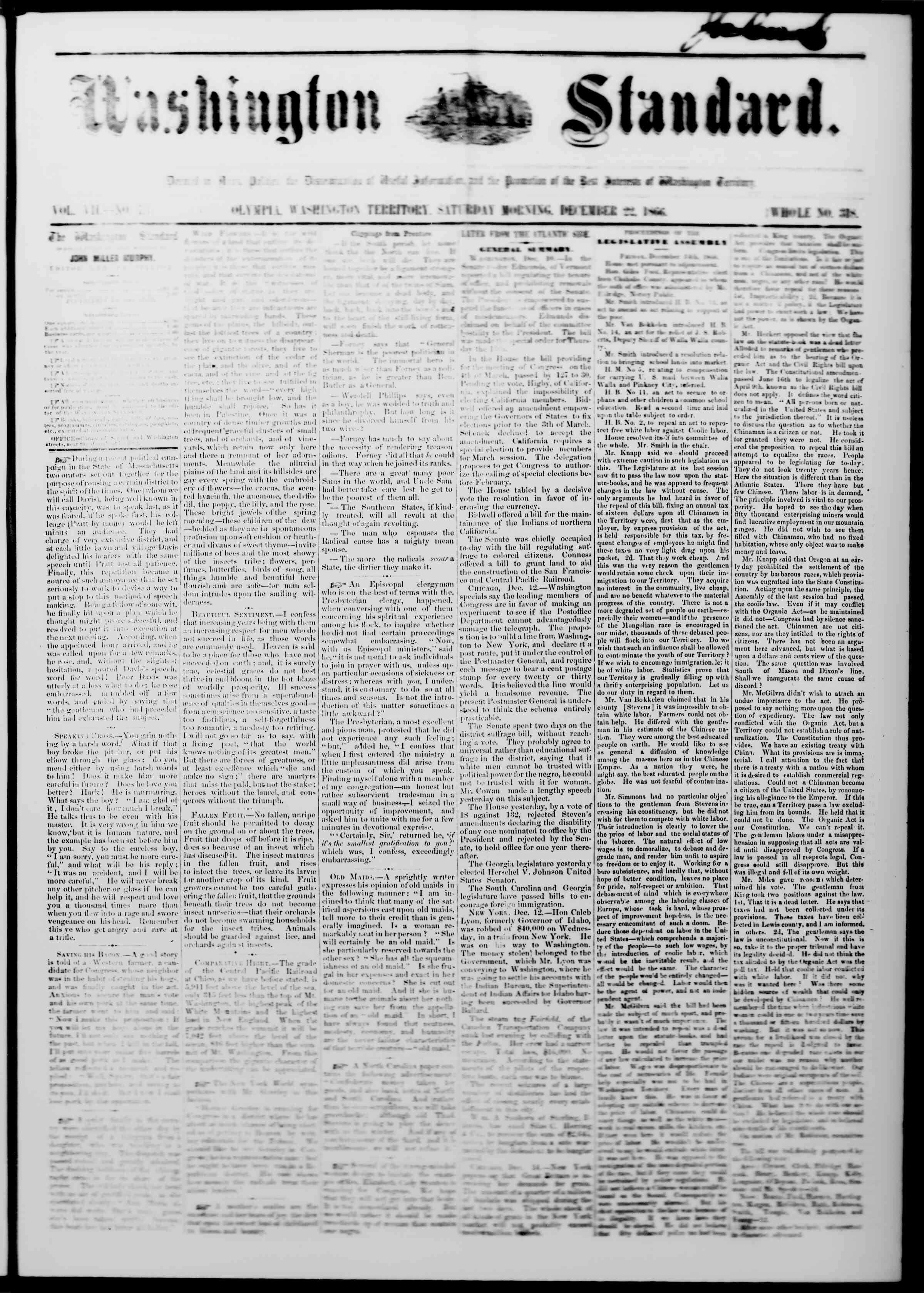 Newspaper of The Washington Standard dated December 22, 1866 Page 1