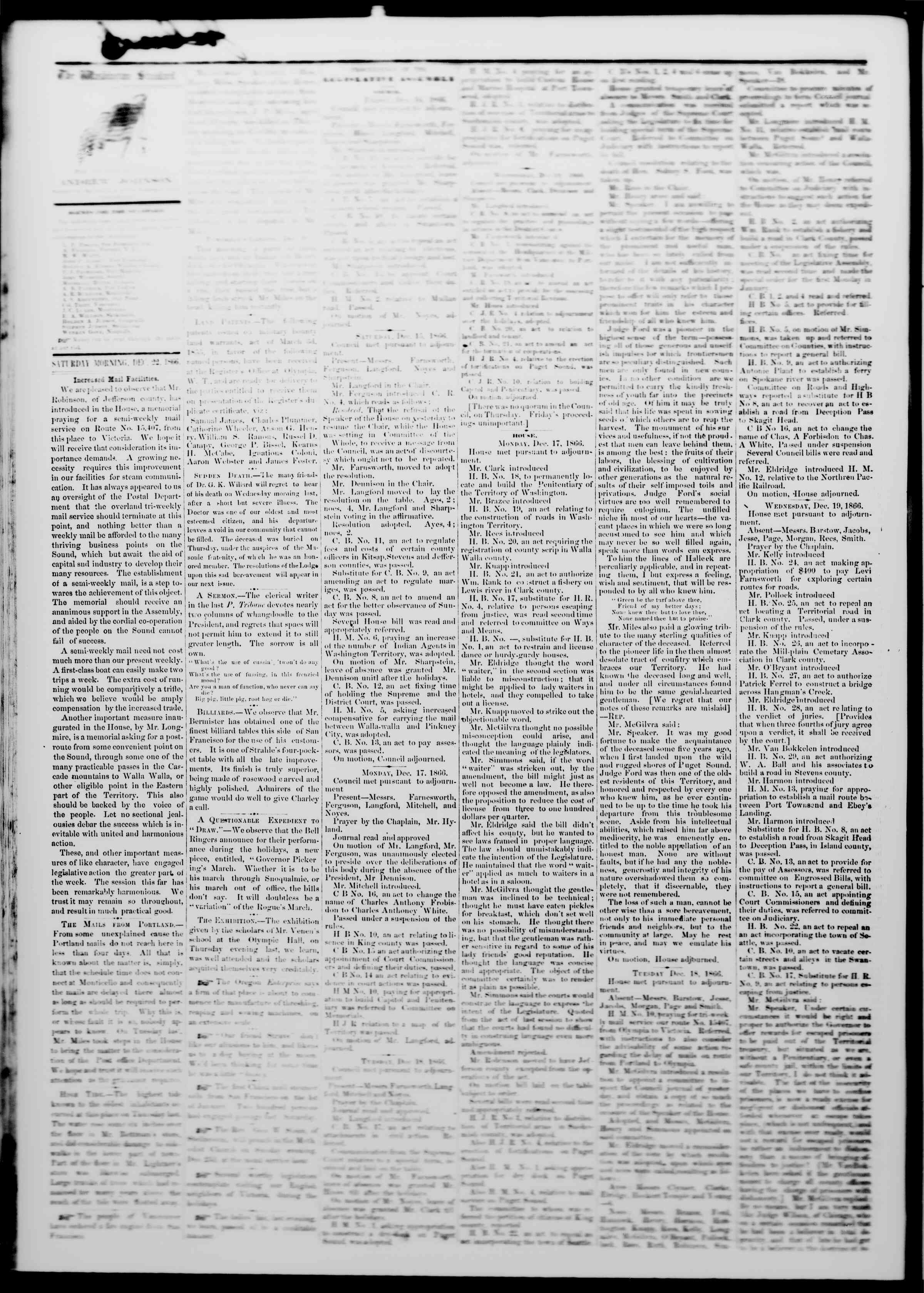 Newspaper of The Washington Standard dated December 22, 1866 Page 2