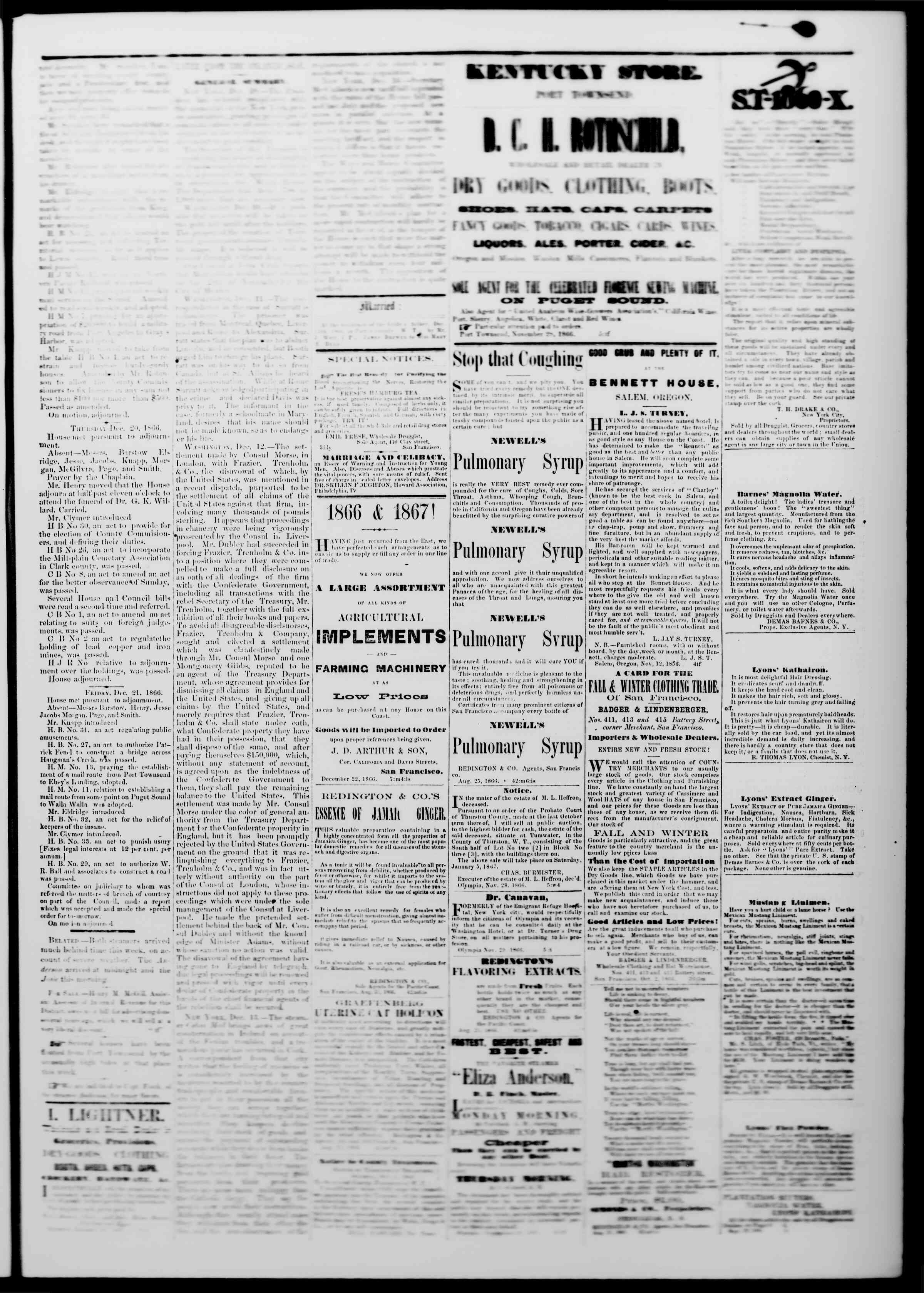 Newspaper of The Washington Standard dated 22 Aralık 1866 Page 3