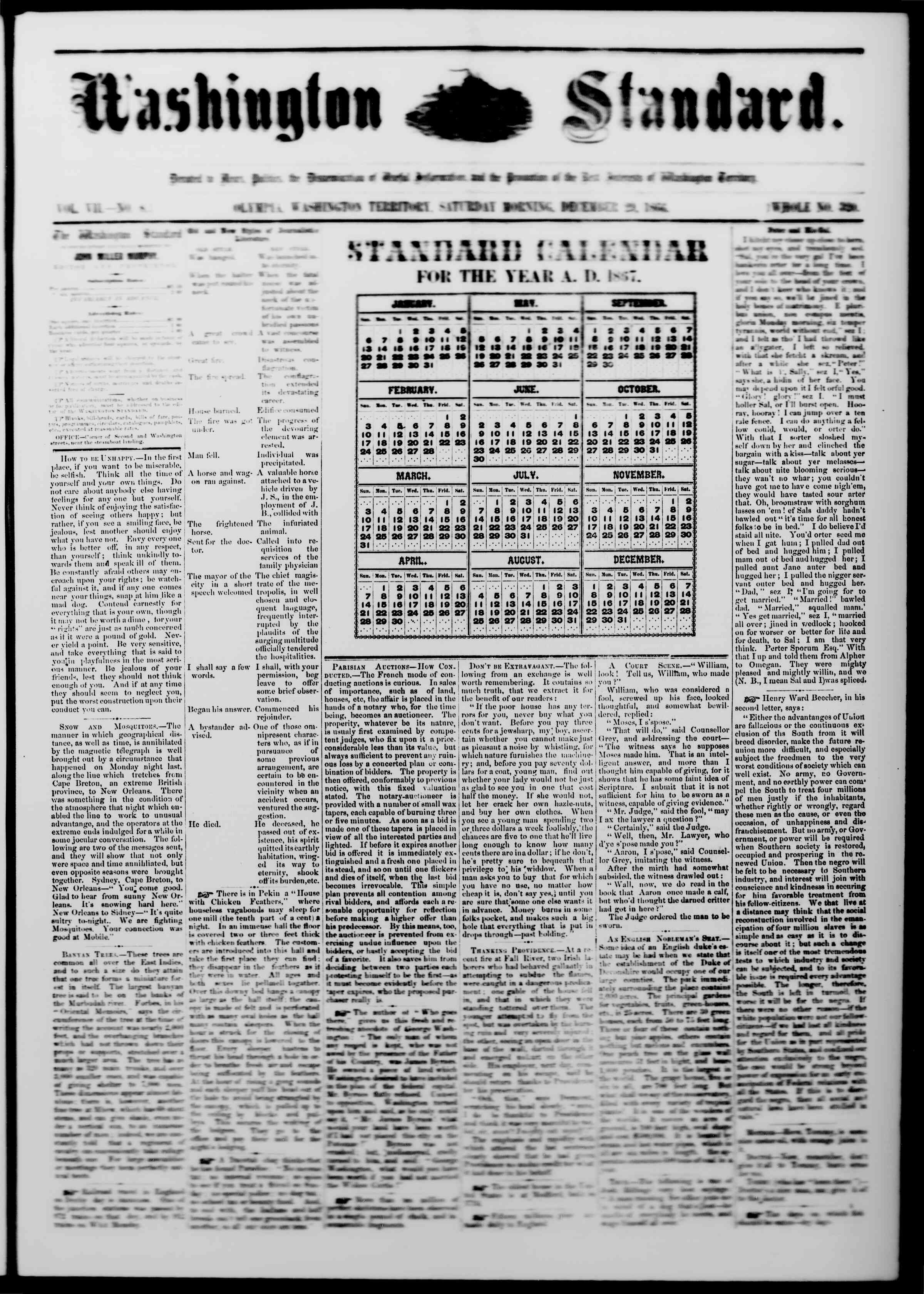 Newspaper of The Washington Standard dated December 29, 1866 Page 1