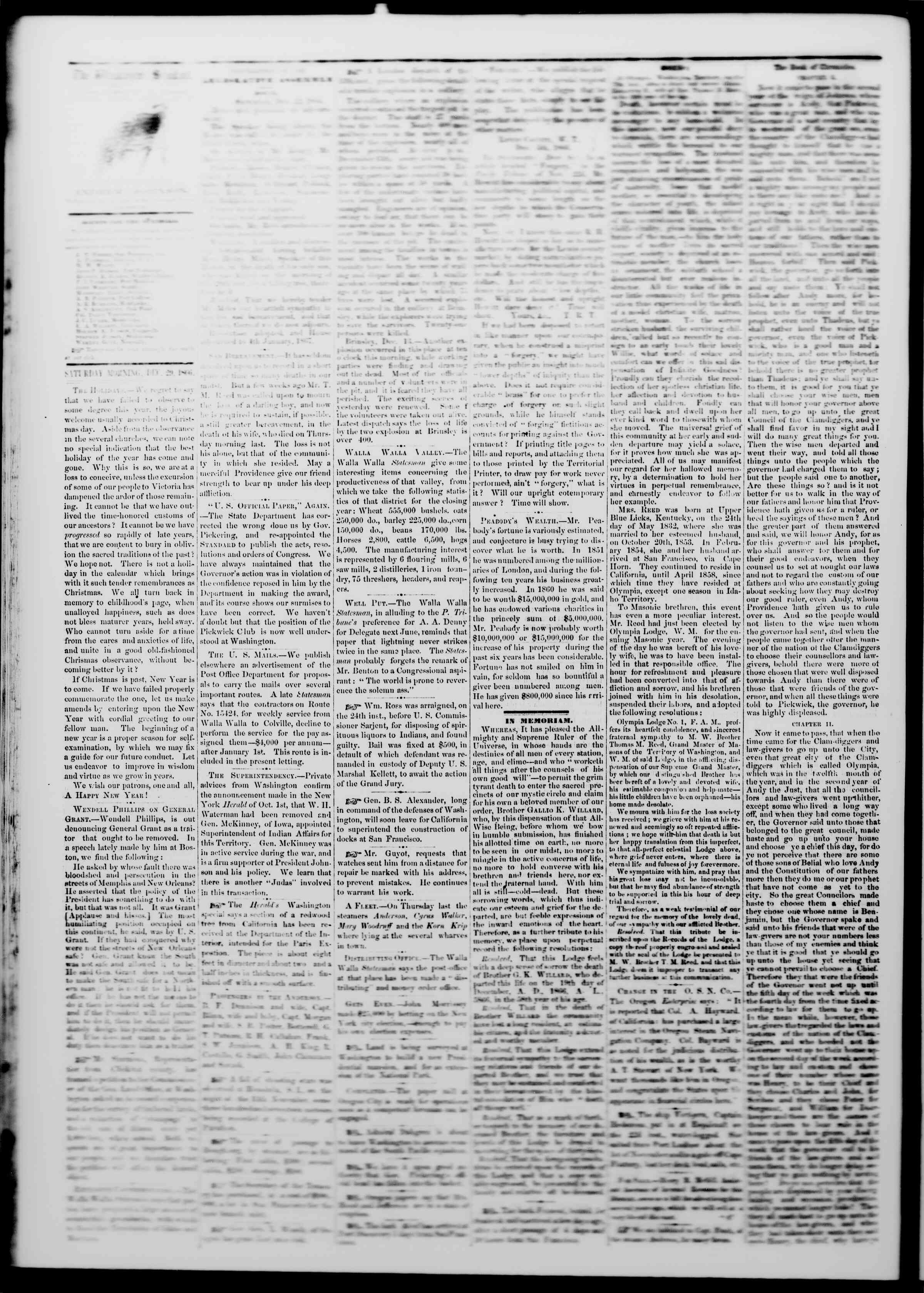 Newspaper of The Washington Standard dated December 29, 1866 Page 2