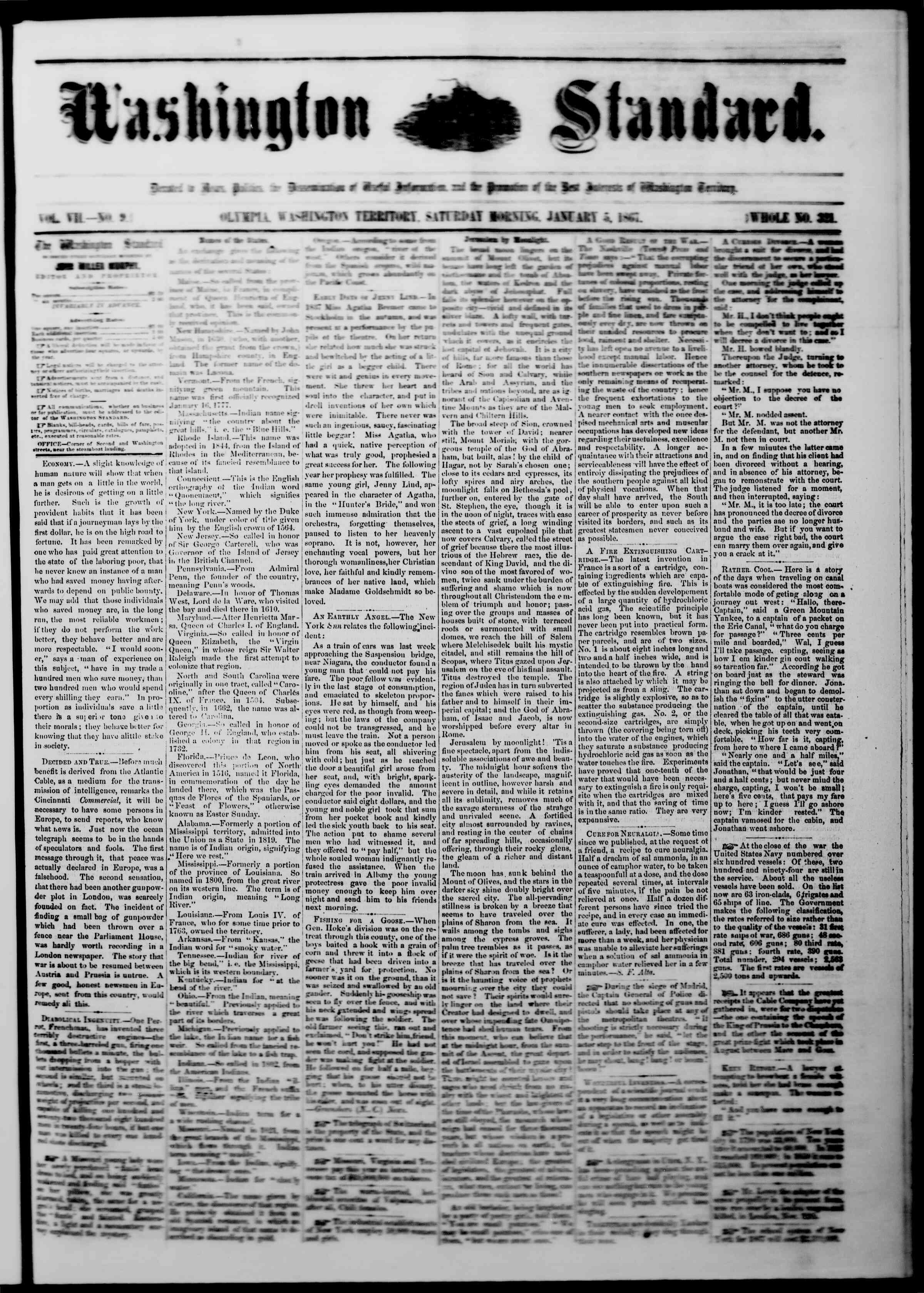 Newspaper of The Washington Standard dated January 5, 1867 Page 1