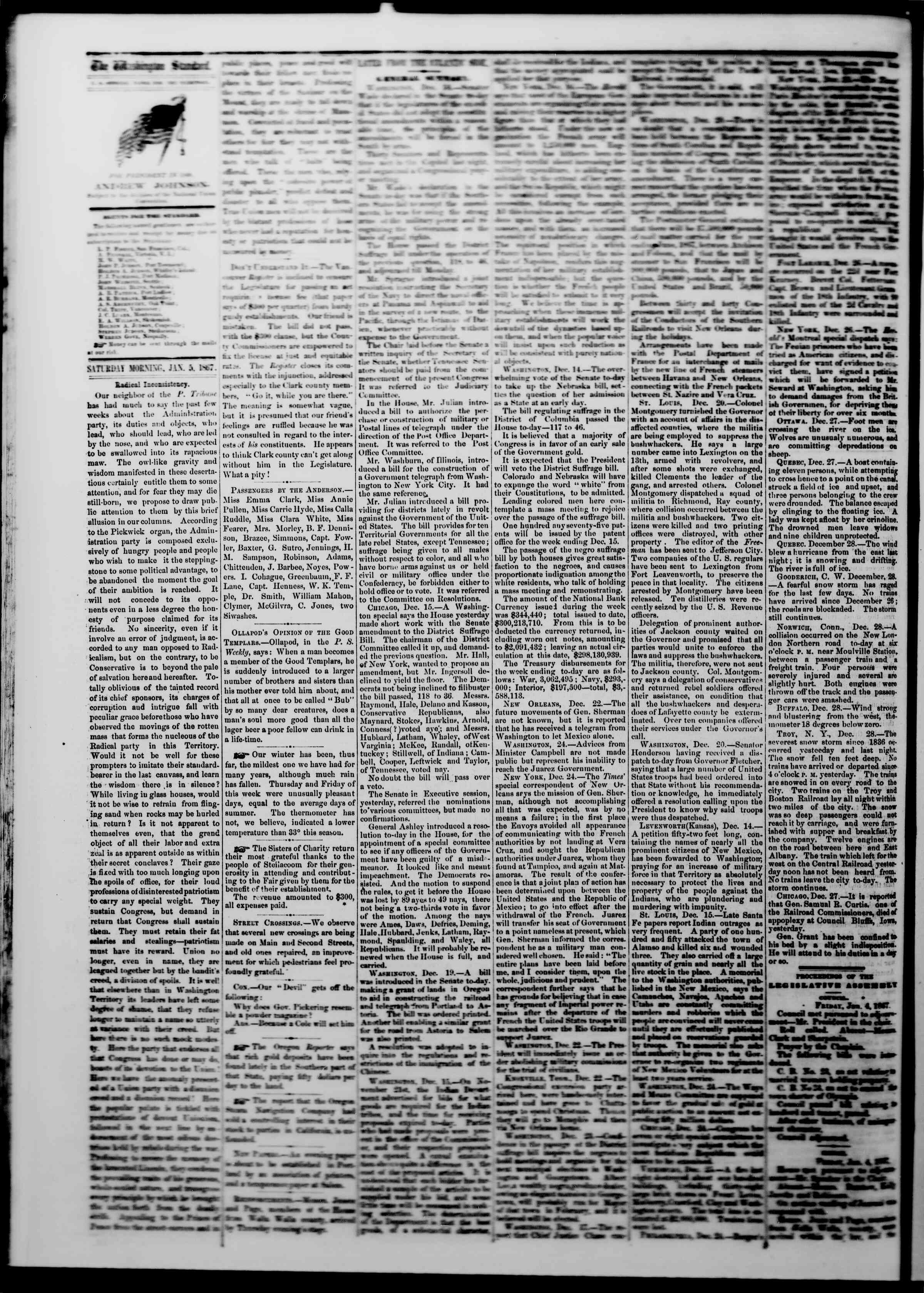 Newspaper of The Washington Standard dated January 5, 1867 Page 2