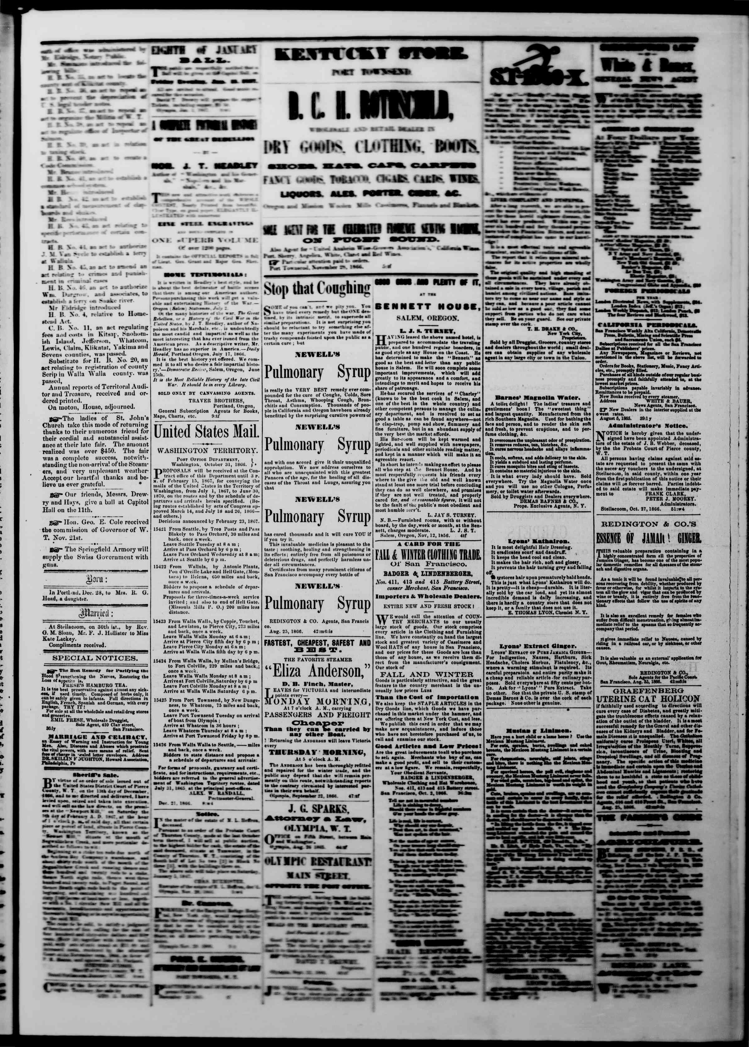 Newspaper of The Washington Standard dated January 5, 1867 Page 3