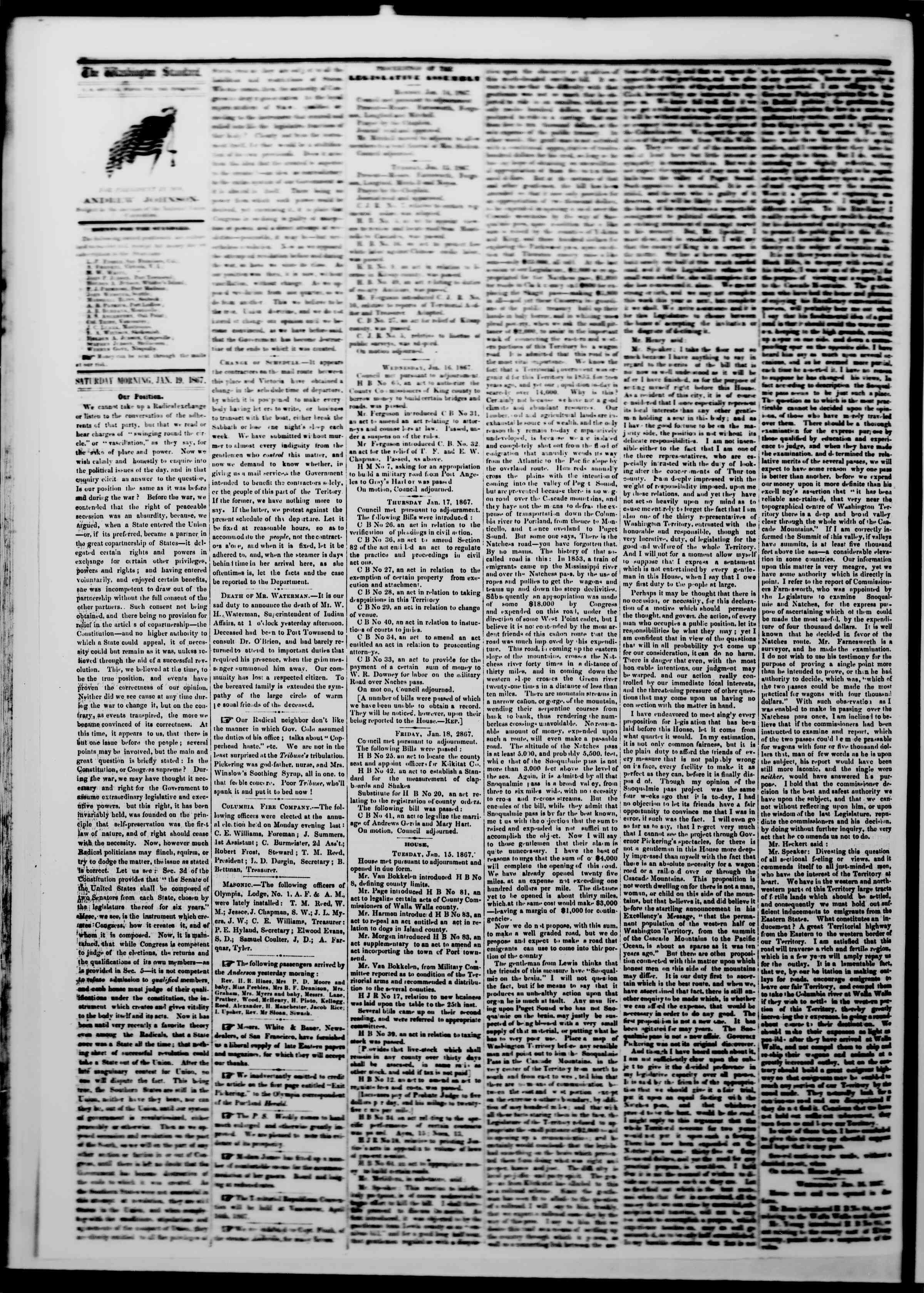 Newspaper of The Washington Standard dated January 19, 1867 Page 2