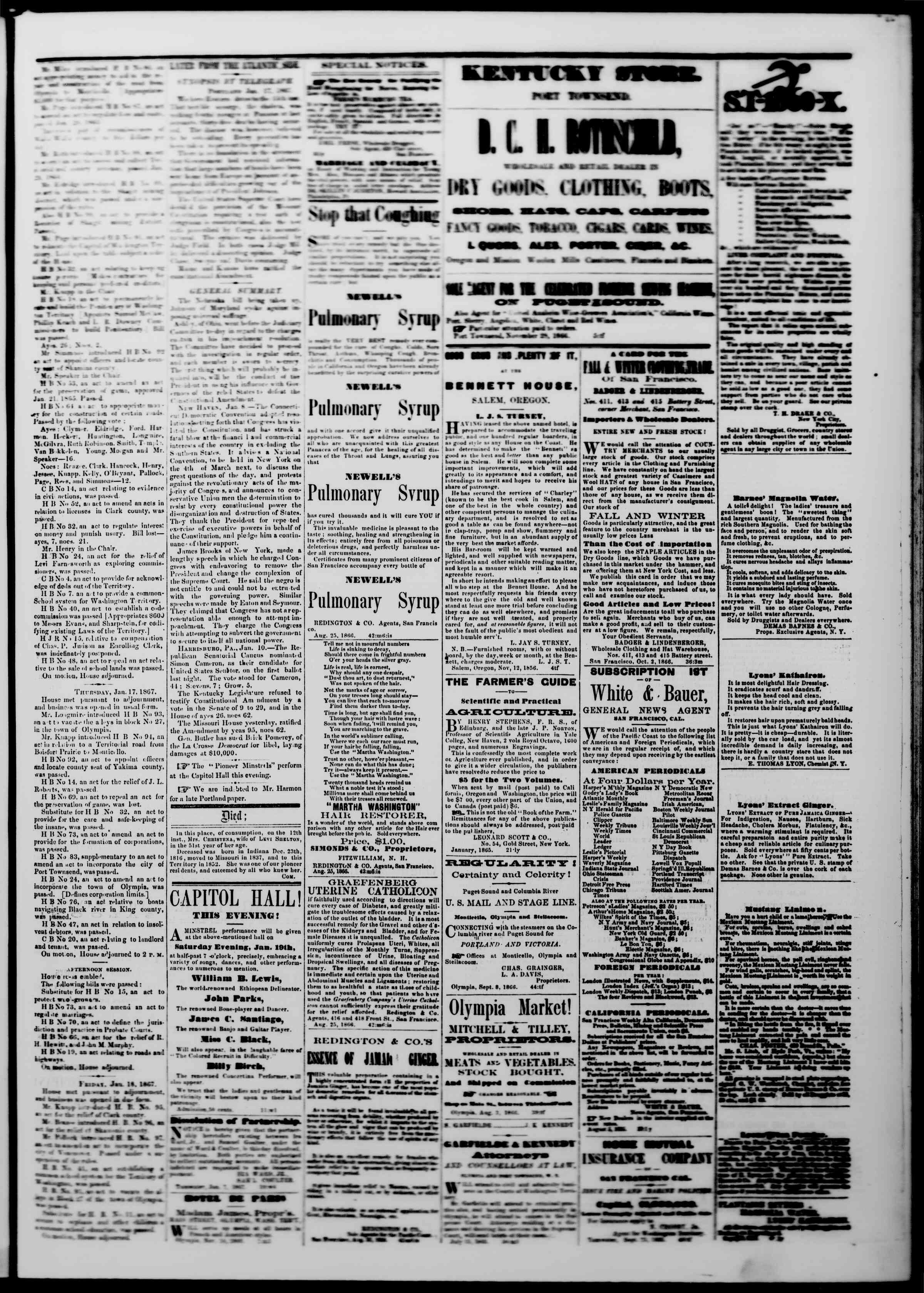 Newspaper of The Washington Standard dated January 19, 1867 Page 3