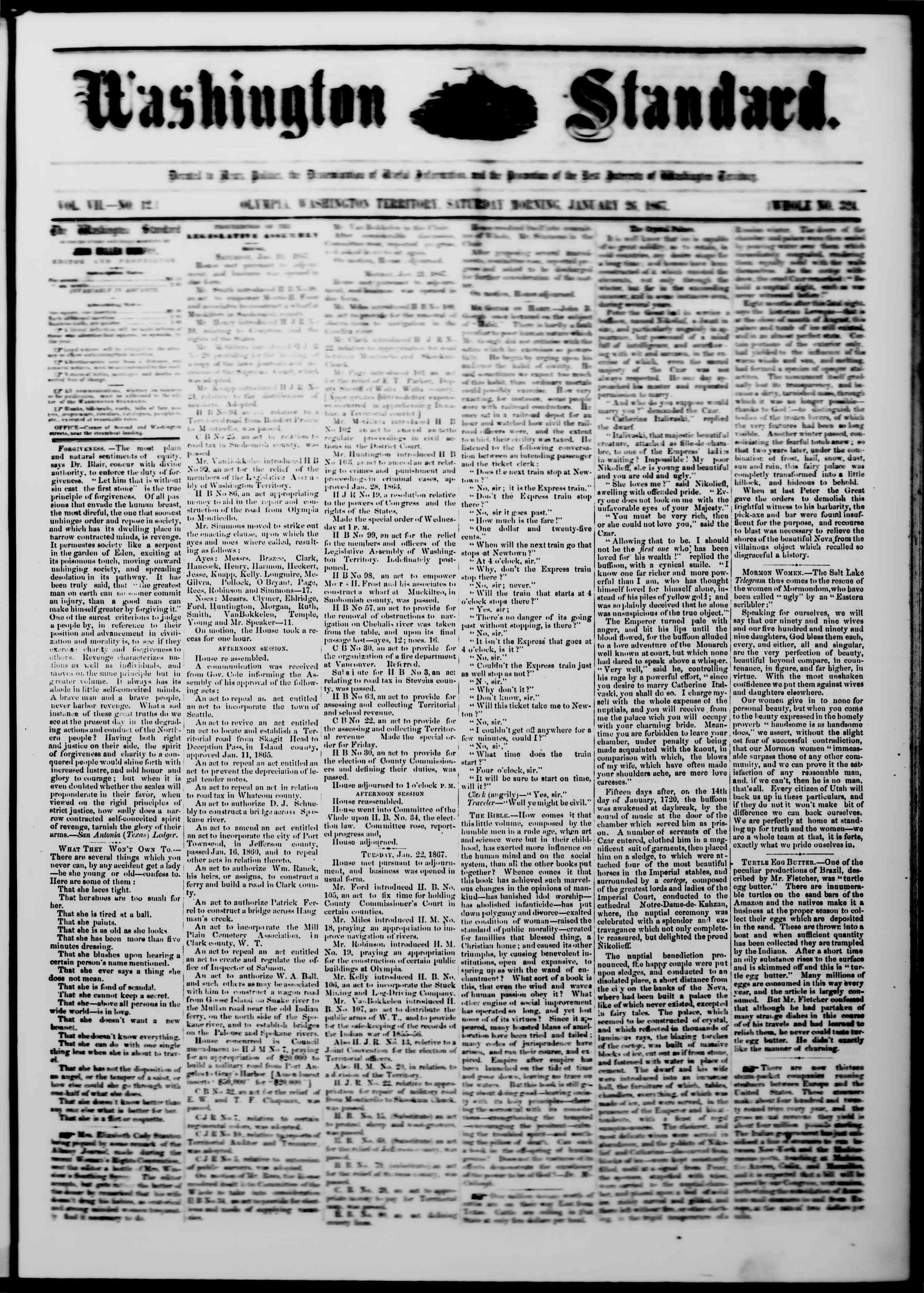 Newspaper of The Washington Standard dated January 26, 1867 Page 1