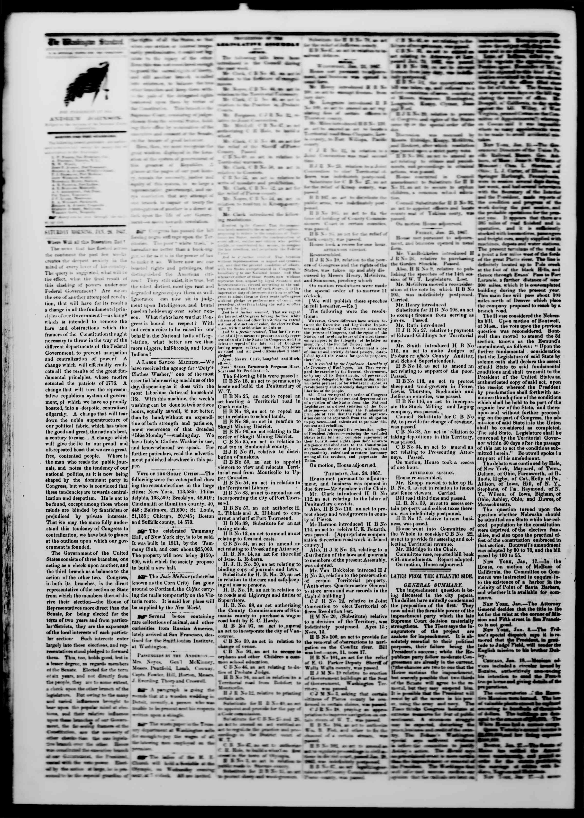 Newspaper of The Washington Standard dated January 26, 1867 Page 2