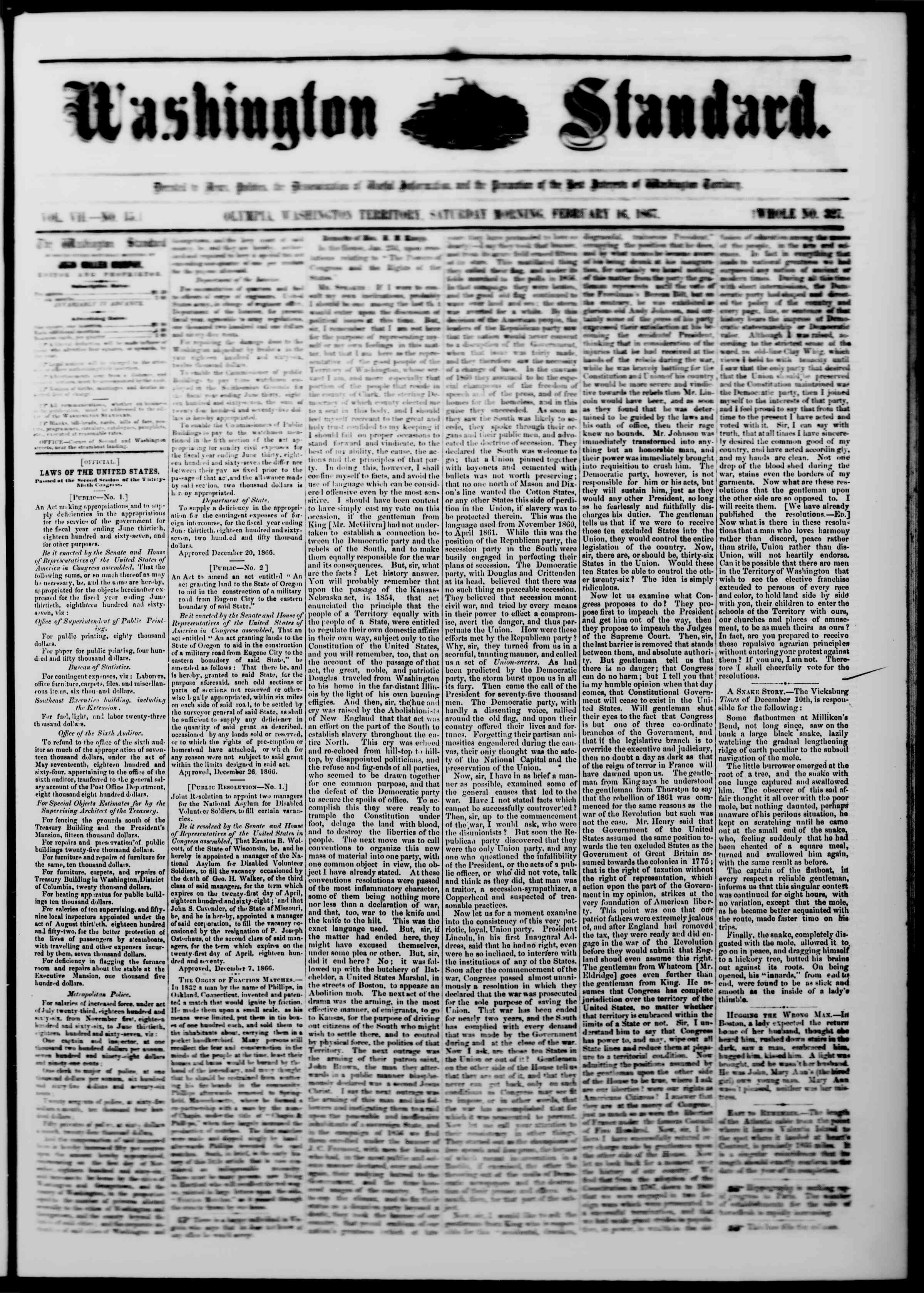 Newspaper of The Washington Standard dated February 16, 1867 Page 1