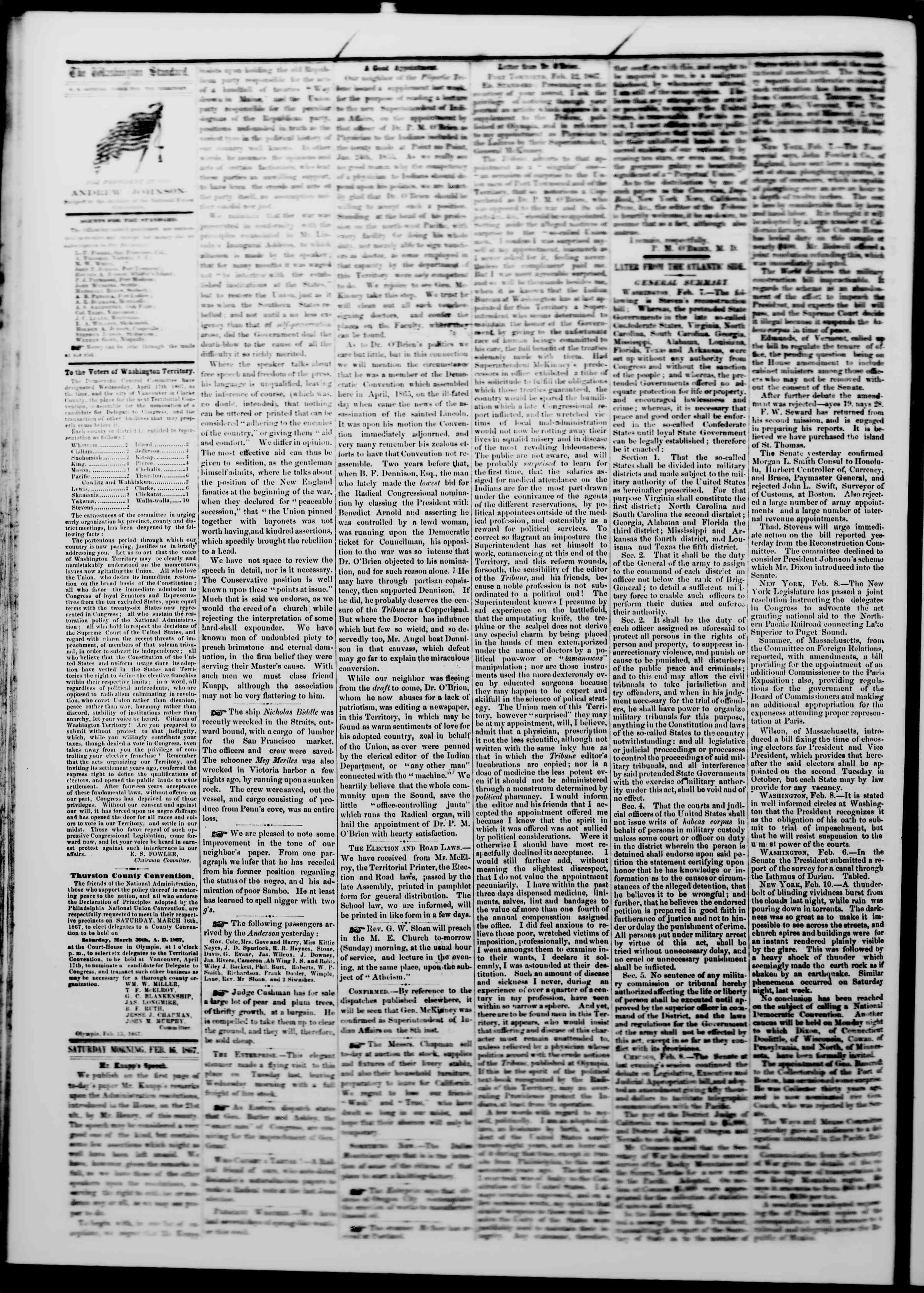 Newspaper of The Washington Standard dated February 16, 1867 Page 2