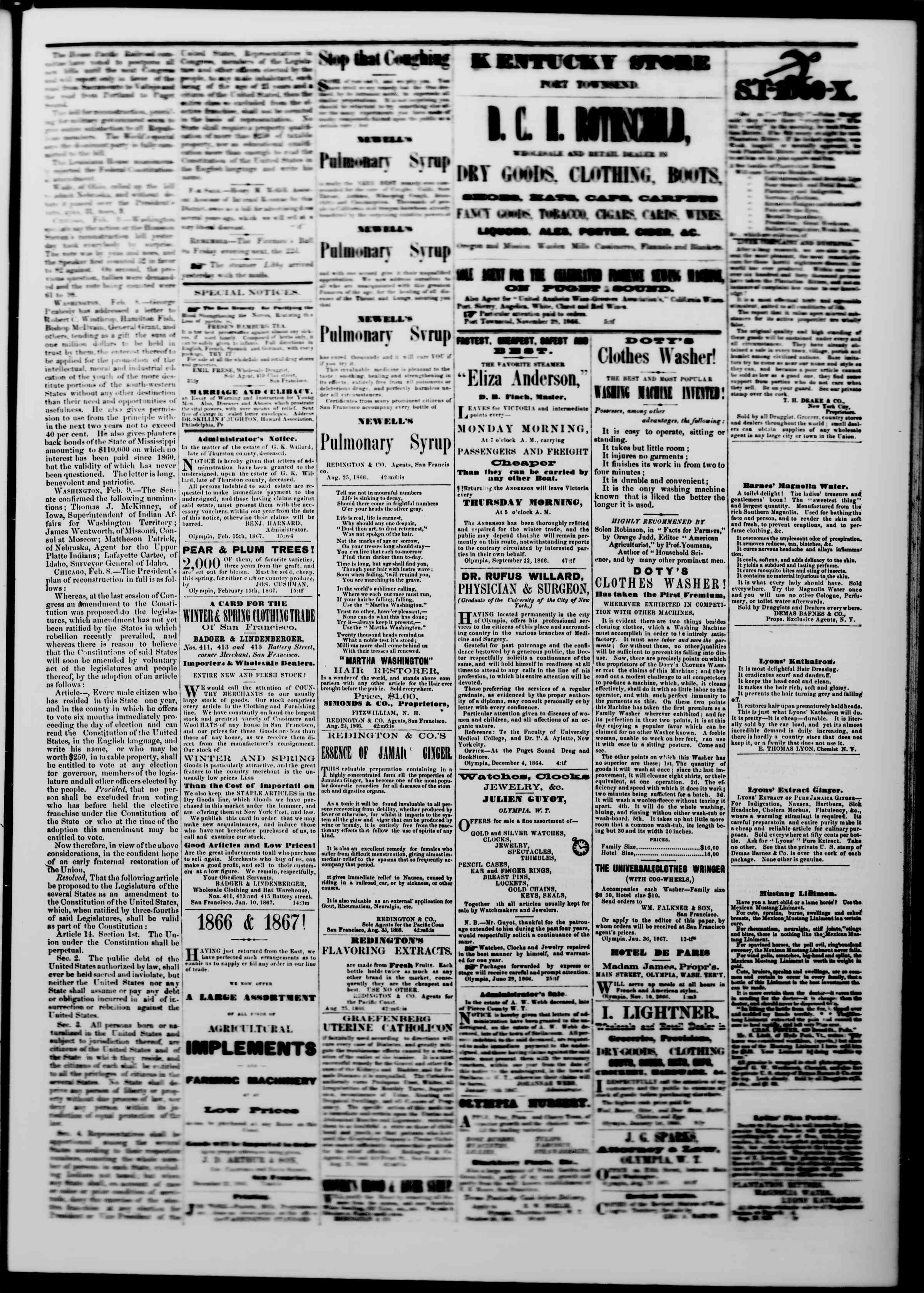 Newspaper of The Washington Standard dated February 16, 1867 Page 3