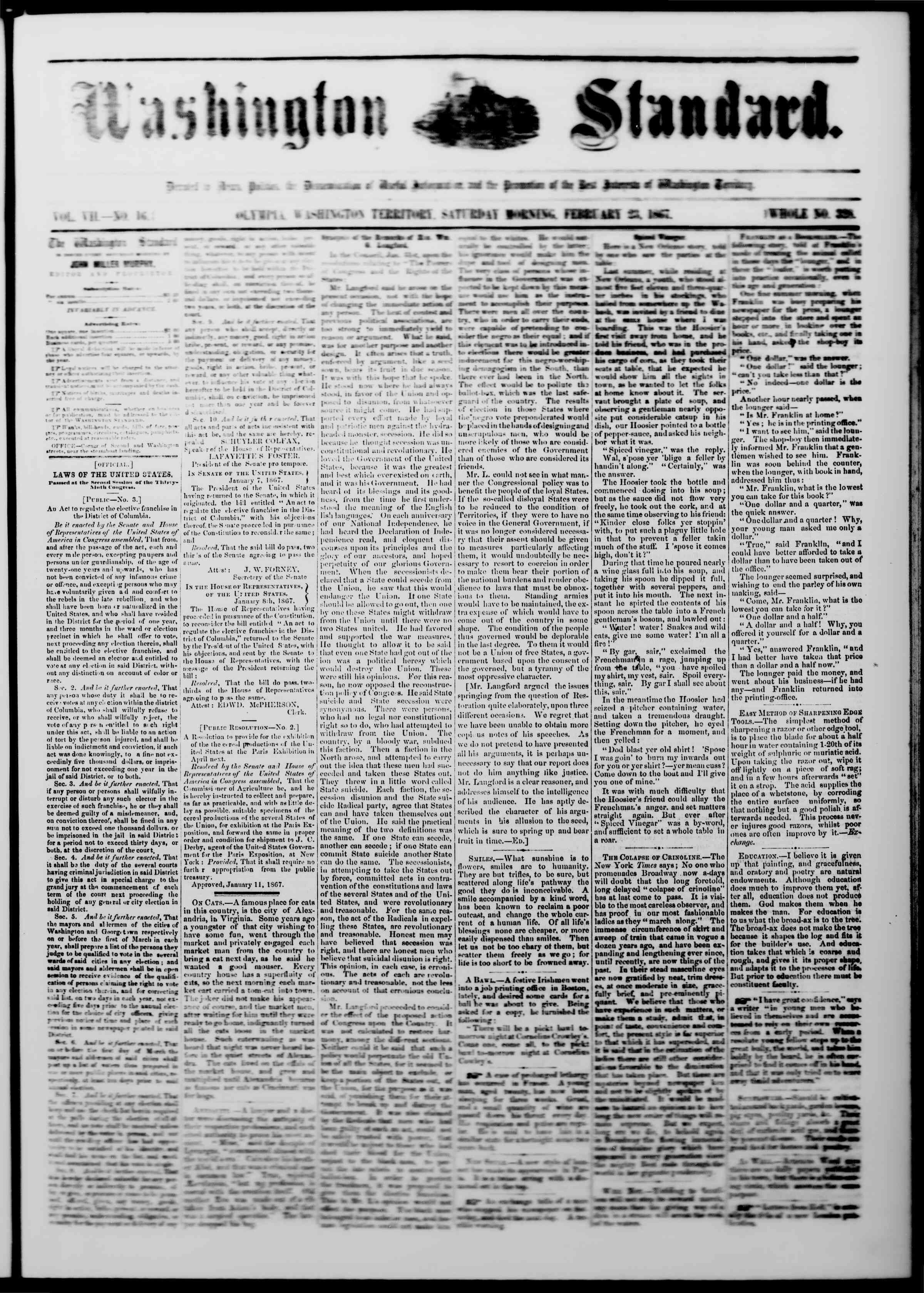 Newspaper of The Washington Standard dated 23 Şubat 1867 Page 1