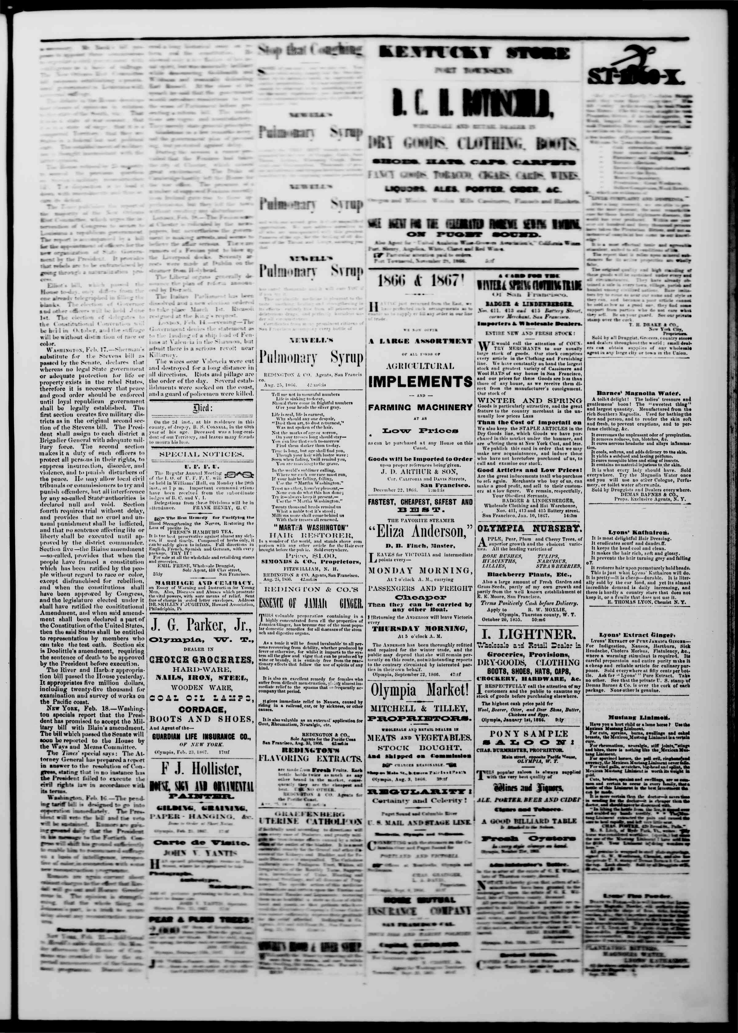 Newspaper of The Washington Standard dated February 23, 1867 Page 3