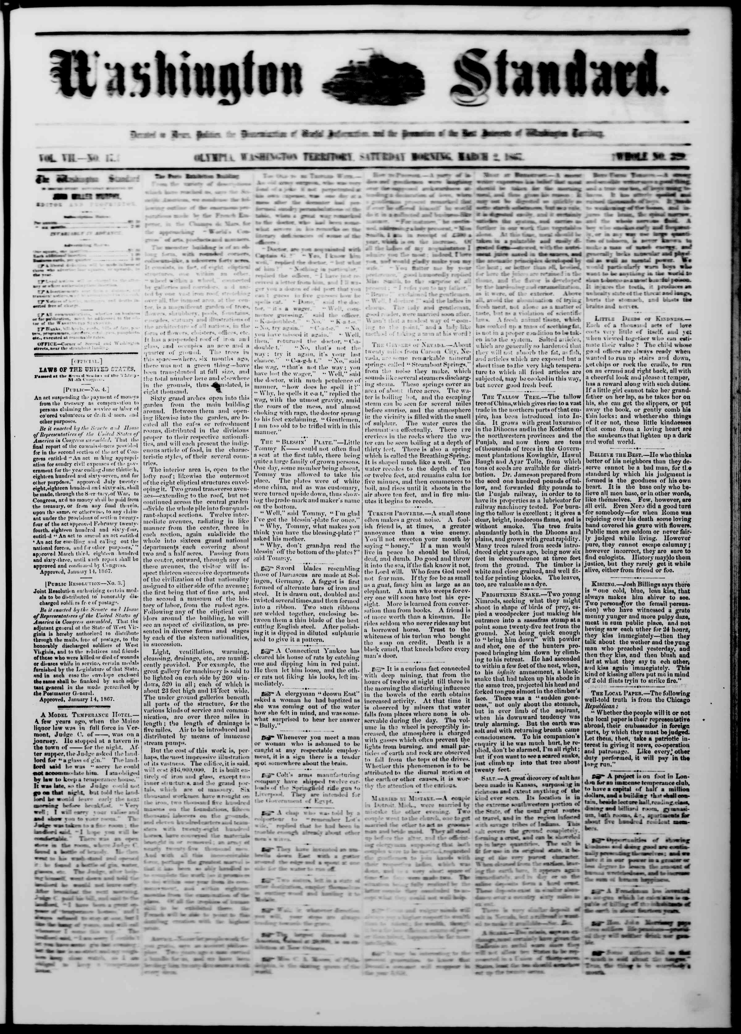 Newspaper of The Washington Standard dated March 2, 1867 Page 1