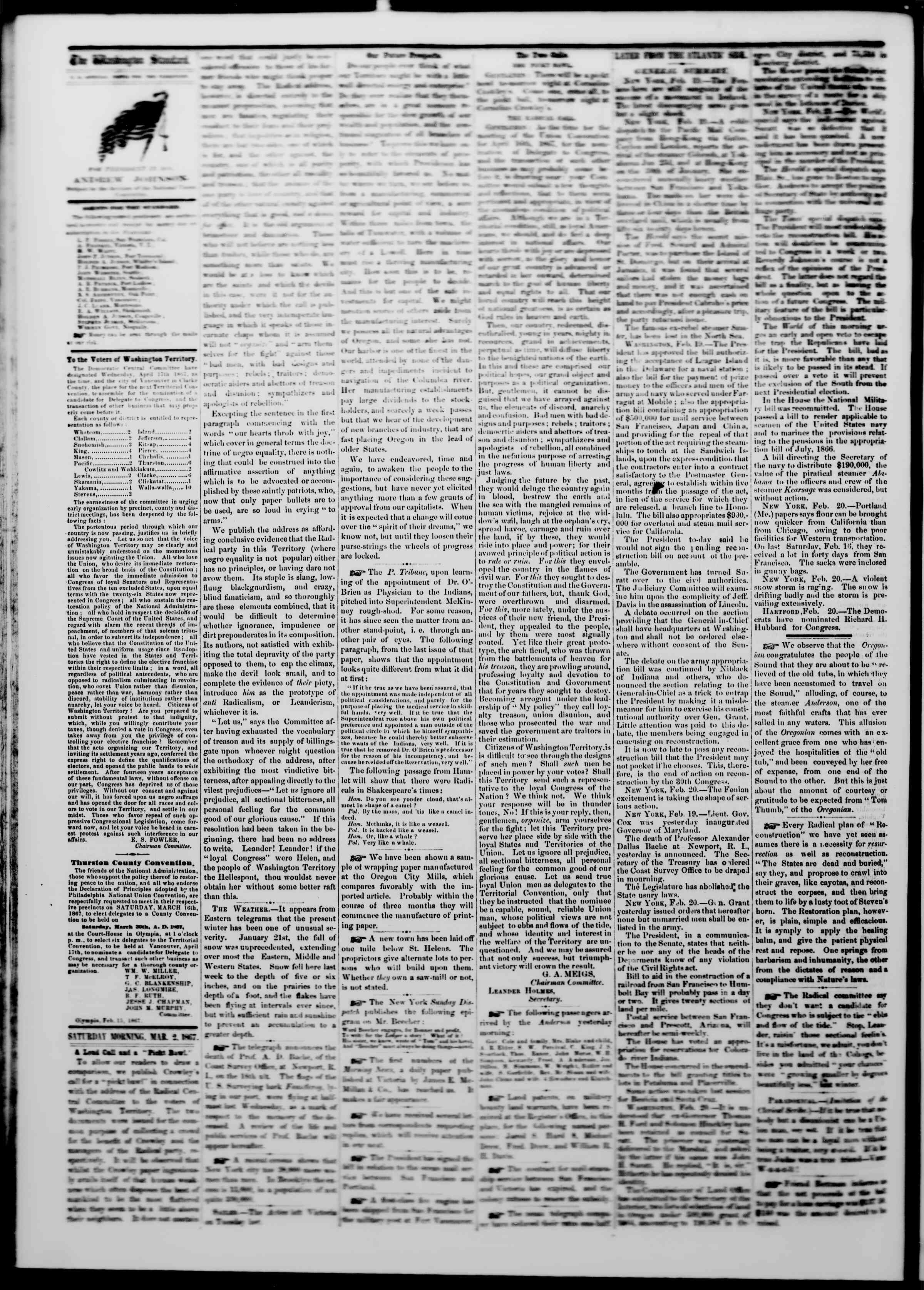Newspaper of The Washington Standard dated March 2, 1867 Page 2