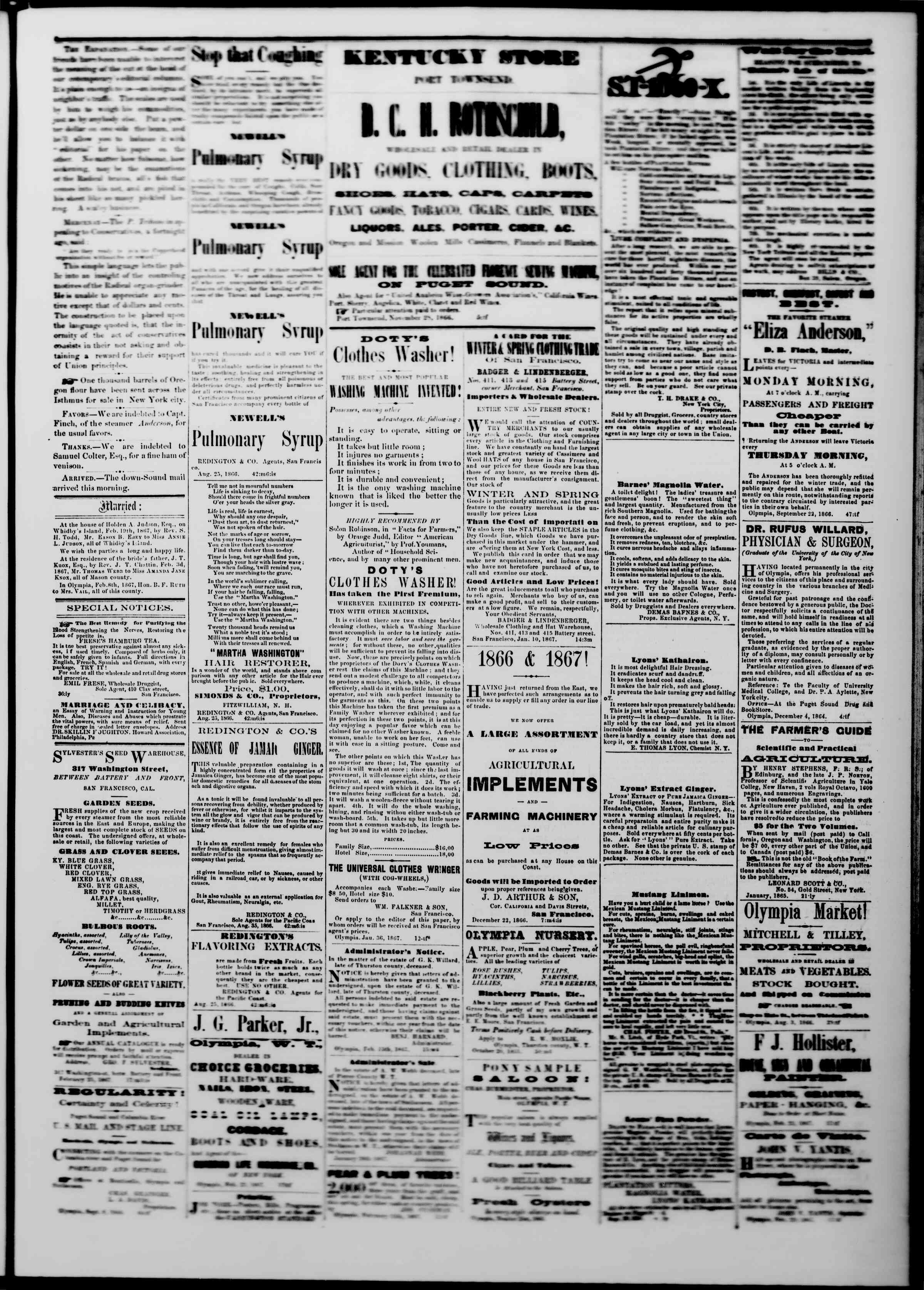 Newspaper of The Washington Standard dated 2 Mart 1867 Page 3