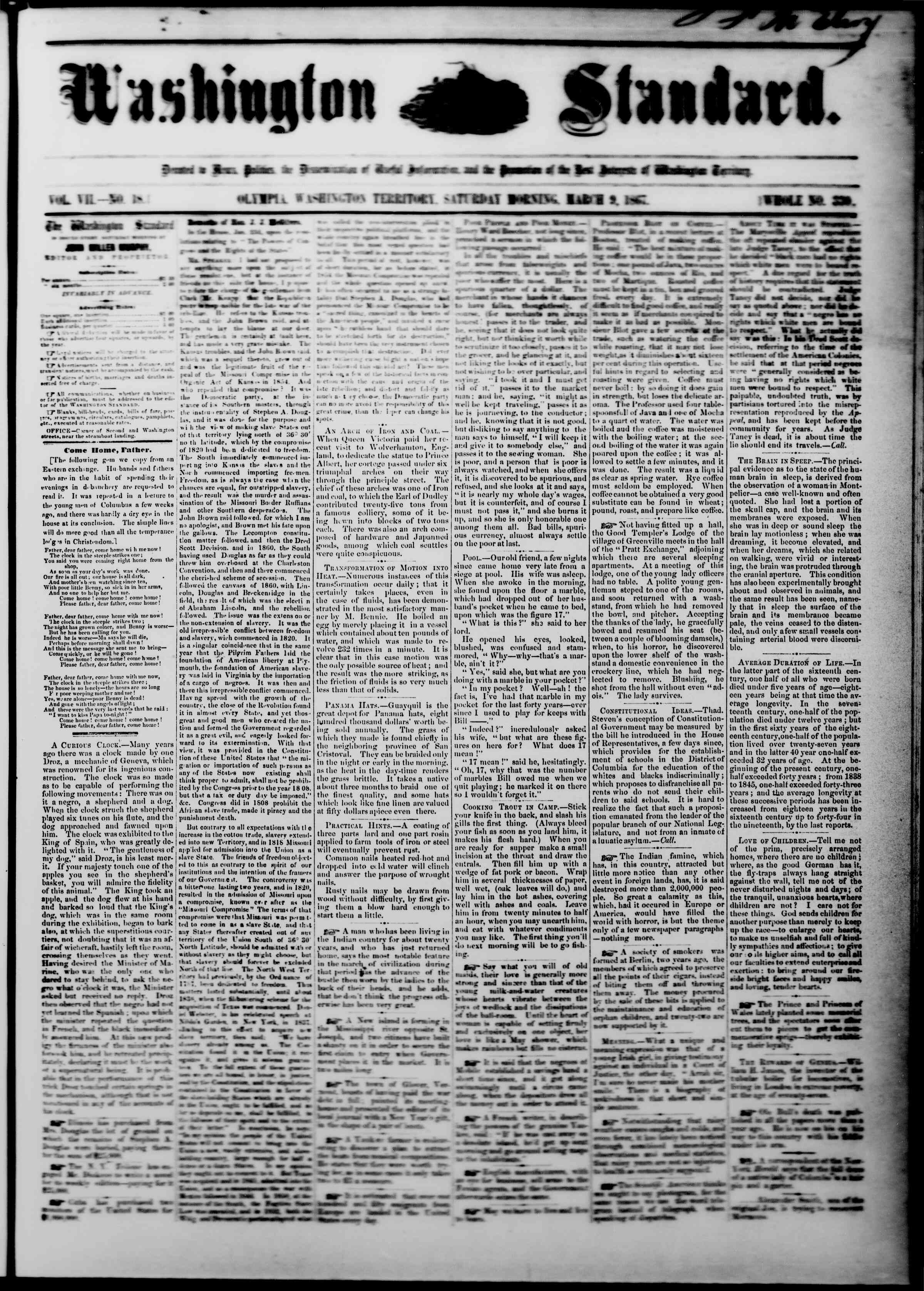 Newspaper of The Washington Standard dated March 9, 1867 Page 1