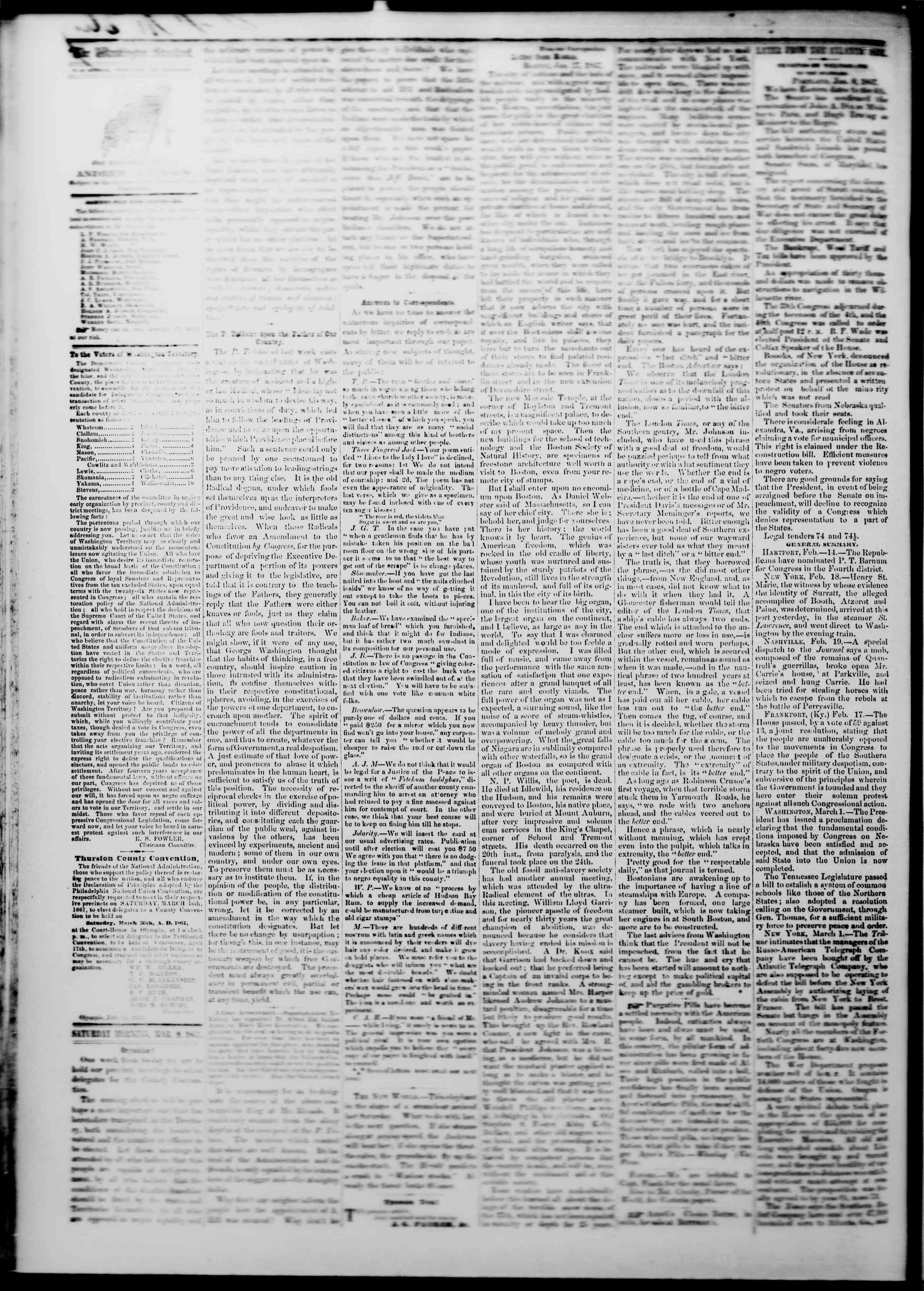 Newspaper of The Washington Standard dated March 9, 1867 Page 2