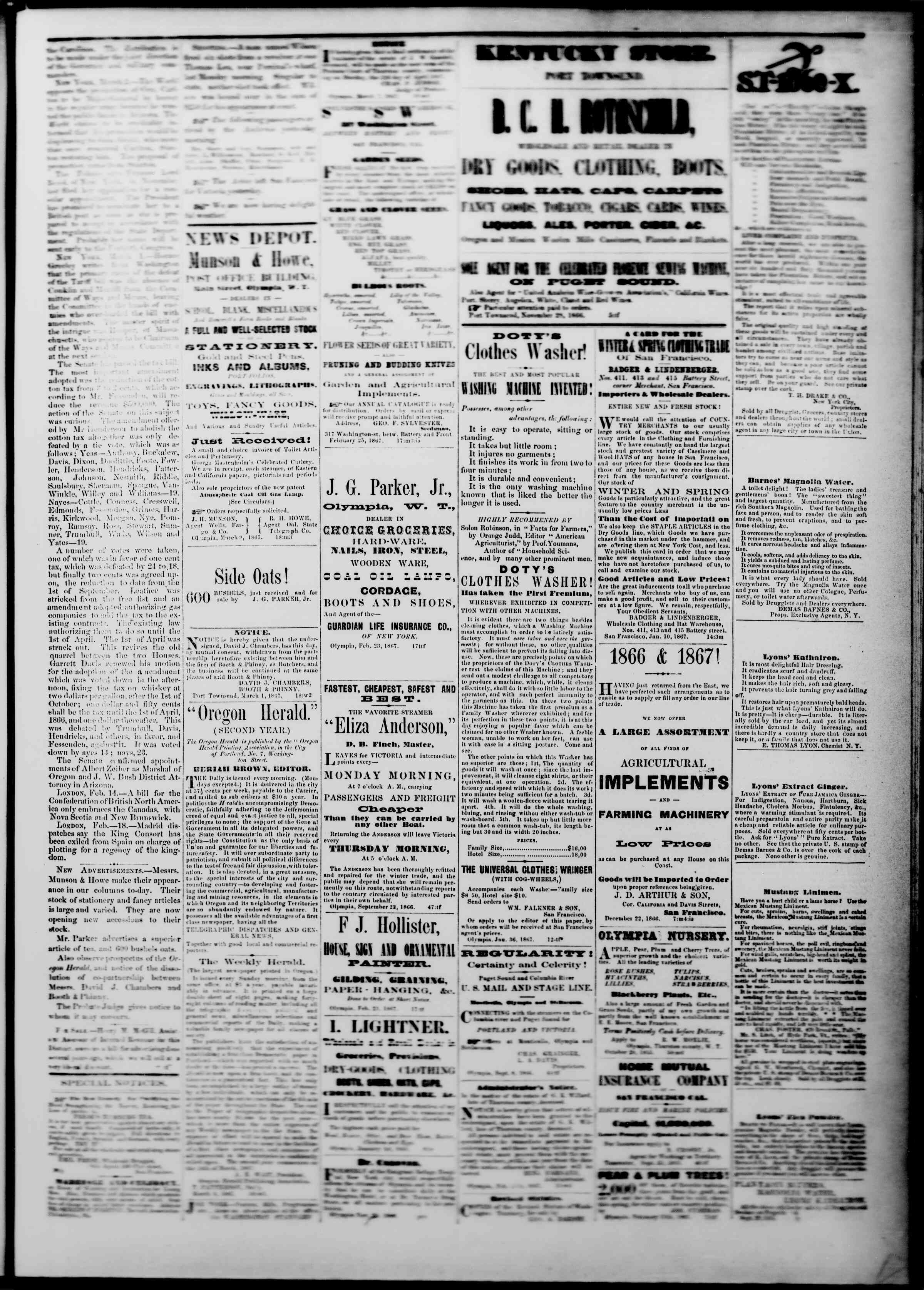 Newspaper of The Washington Standard dated March 9, 1867 Page 3
