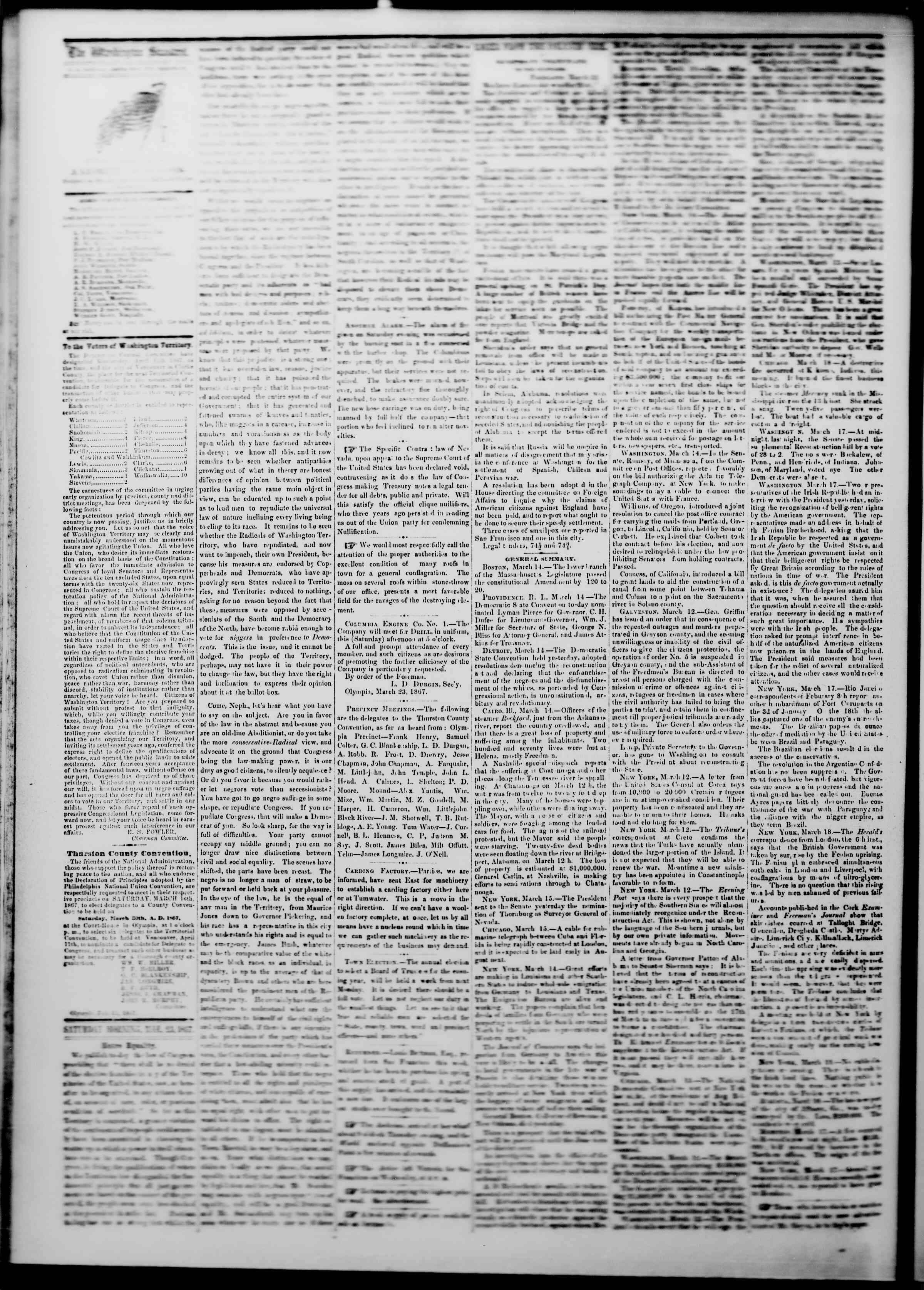 Newspaper of The Washington Standard dated March 23, 1867 Page 2