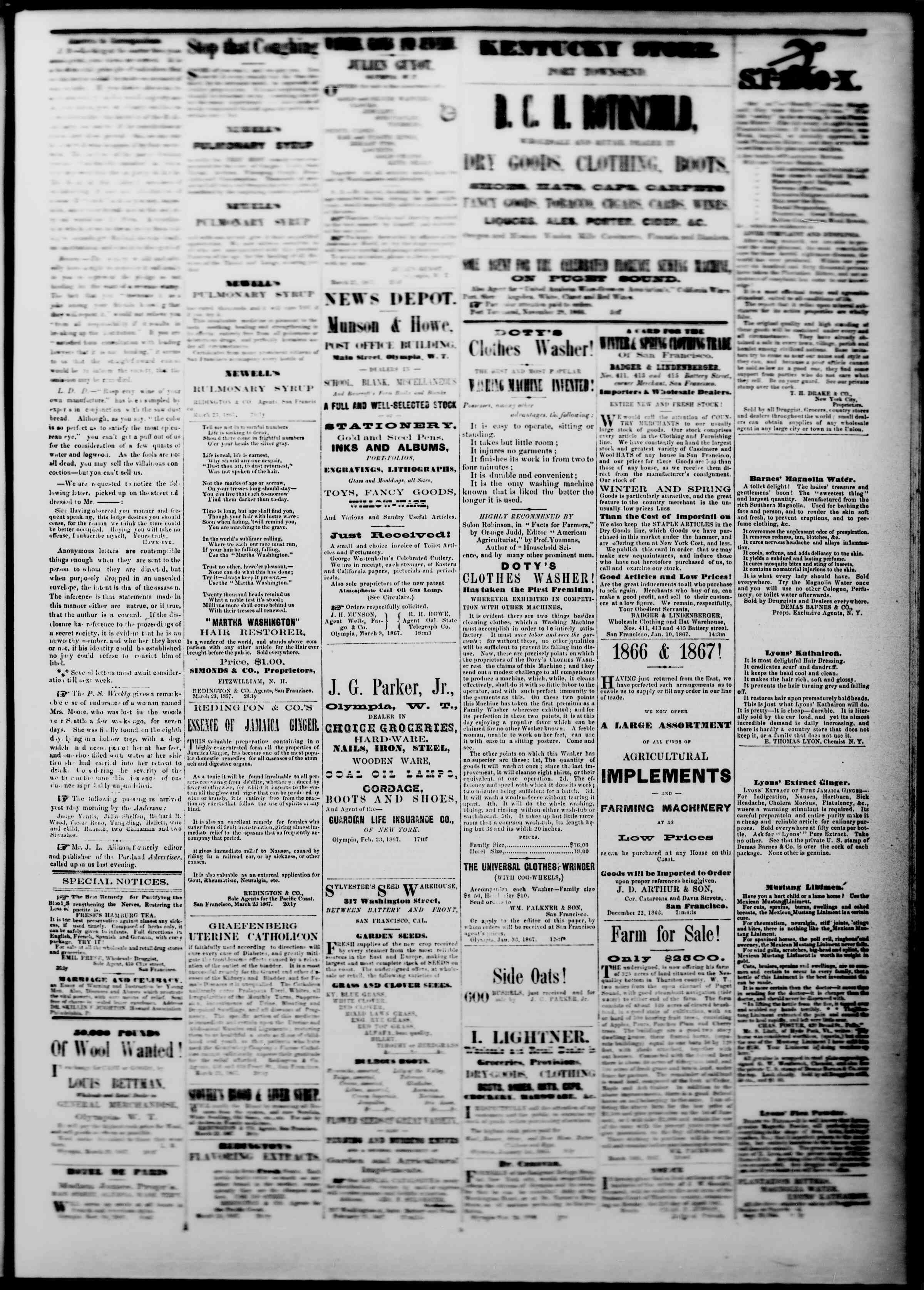 Newspaper of The Washington Standard dated March 23, 1867 Page 3