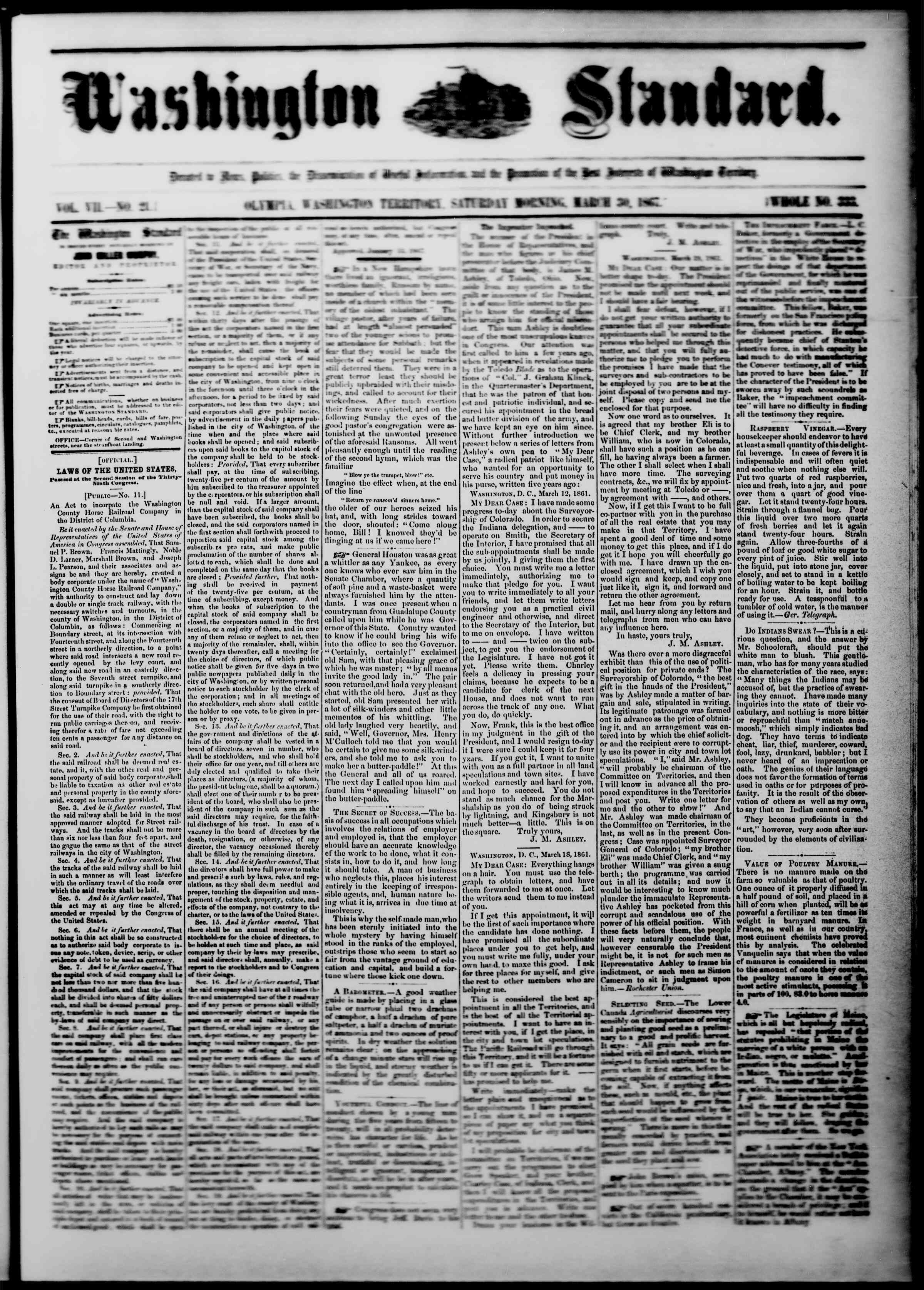 Newspaper of The Washington Standard dated March 30, 1867 Page 1