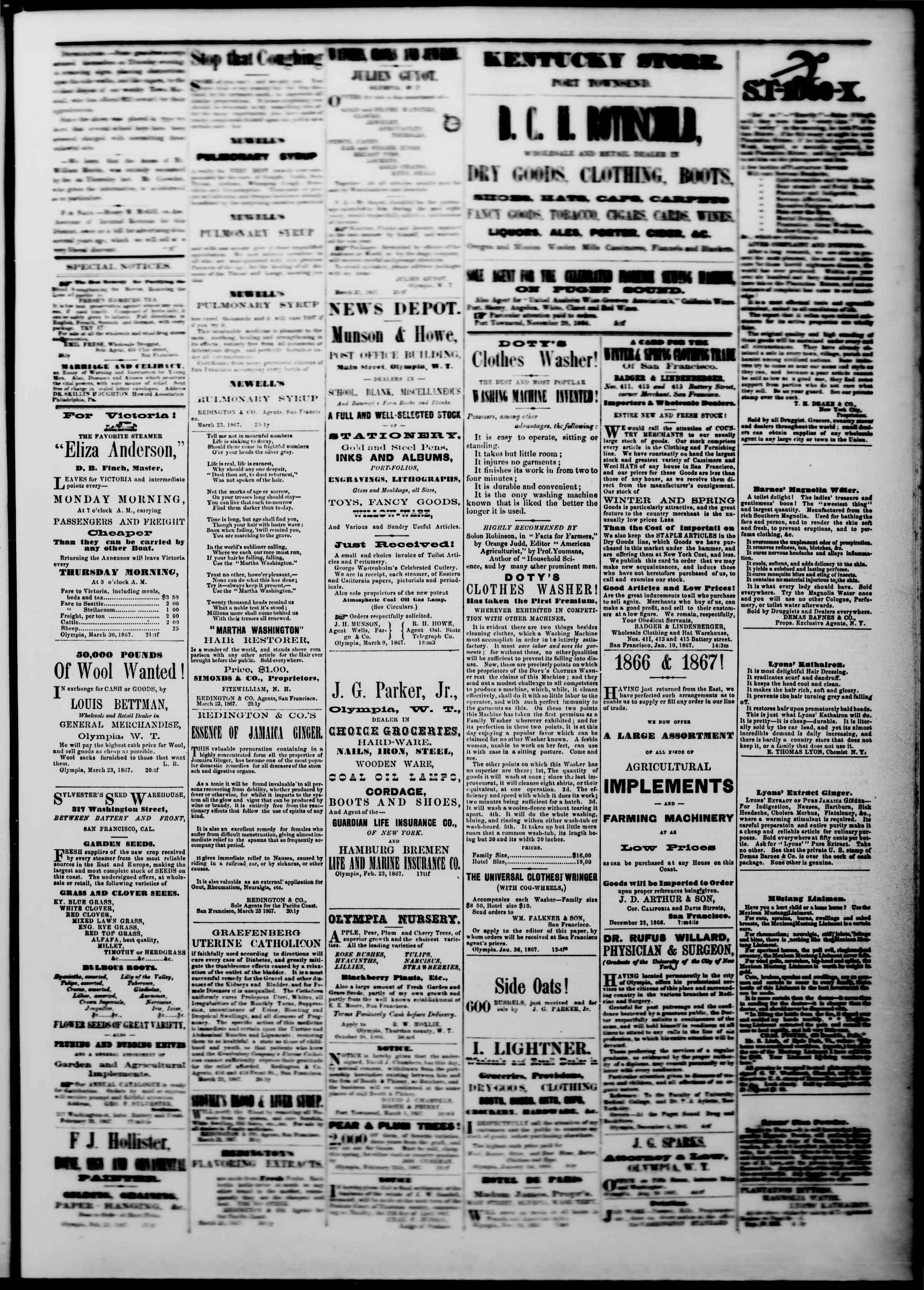 Newspaper of The Washington Standard dated March 30, 1867 Page 3